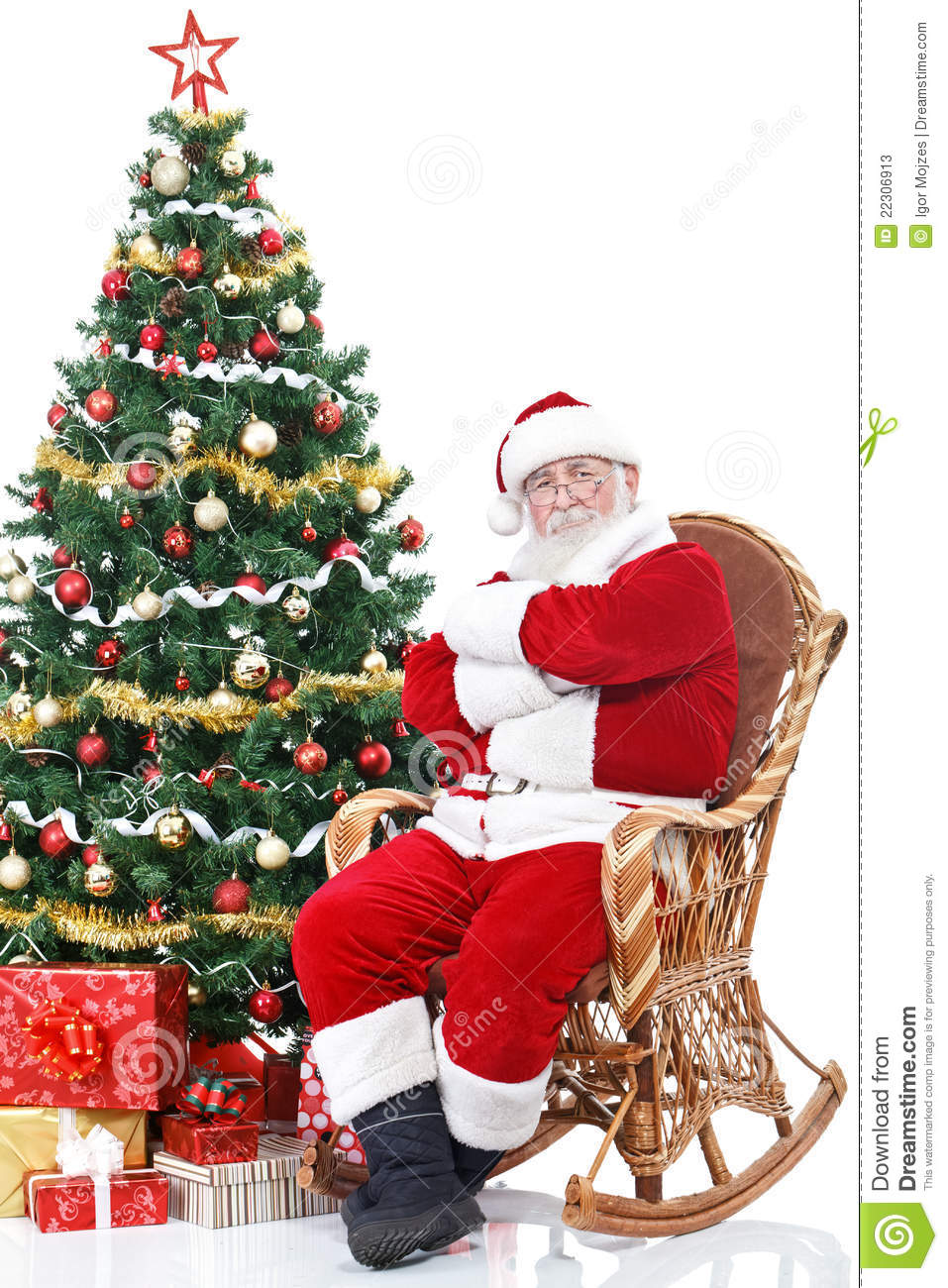 Santa Claus Sitting In Rocking Chair Stock Image Image