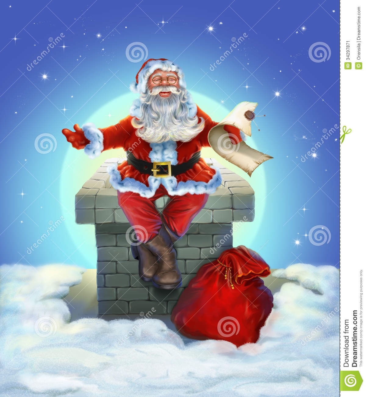 Santa Claus Sitting On The Roof Stock Illustration