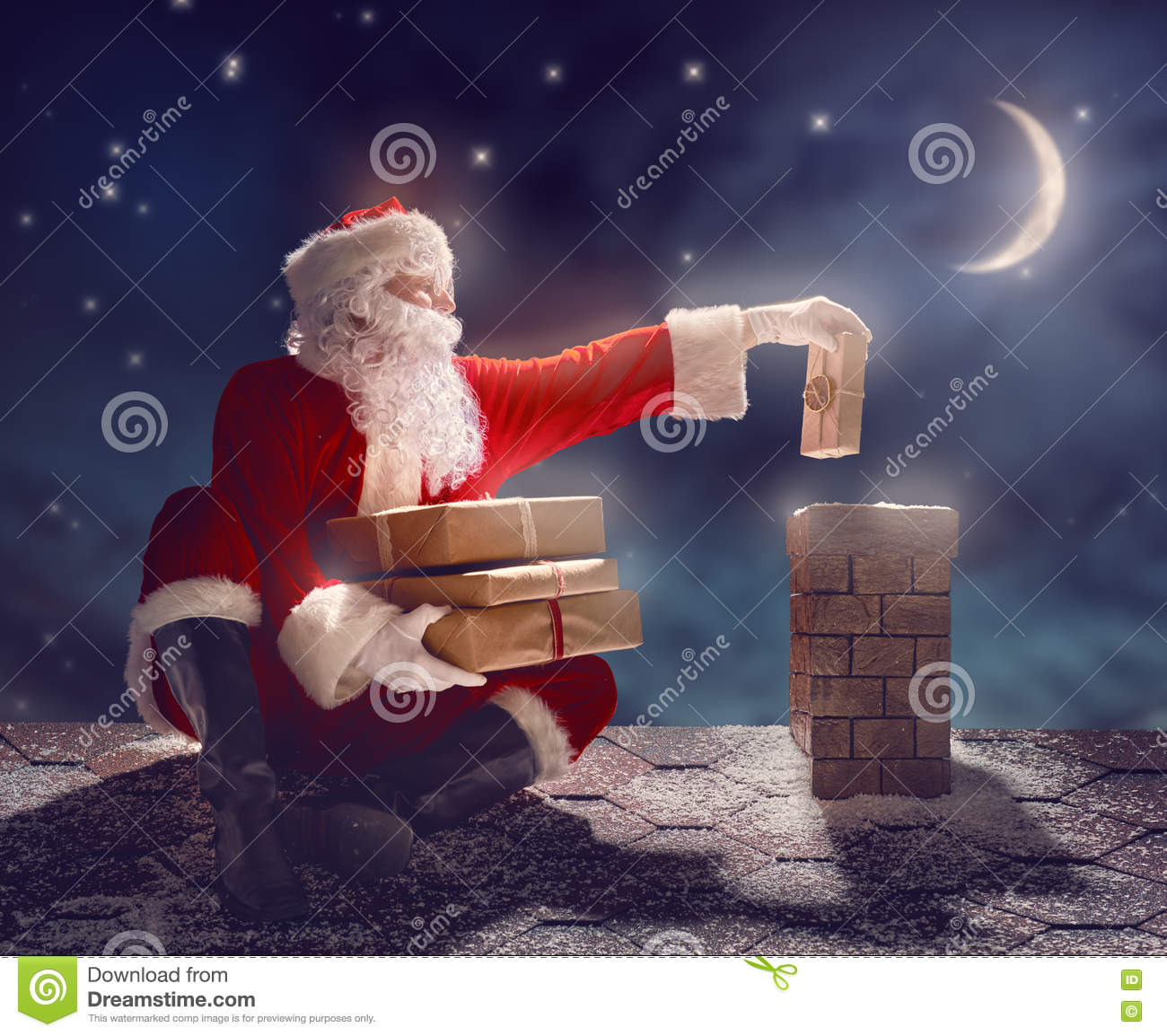 Santa Claus Sitting On The Roof Stock Image Image Of