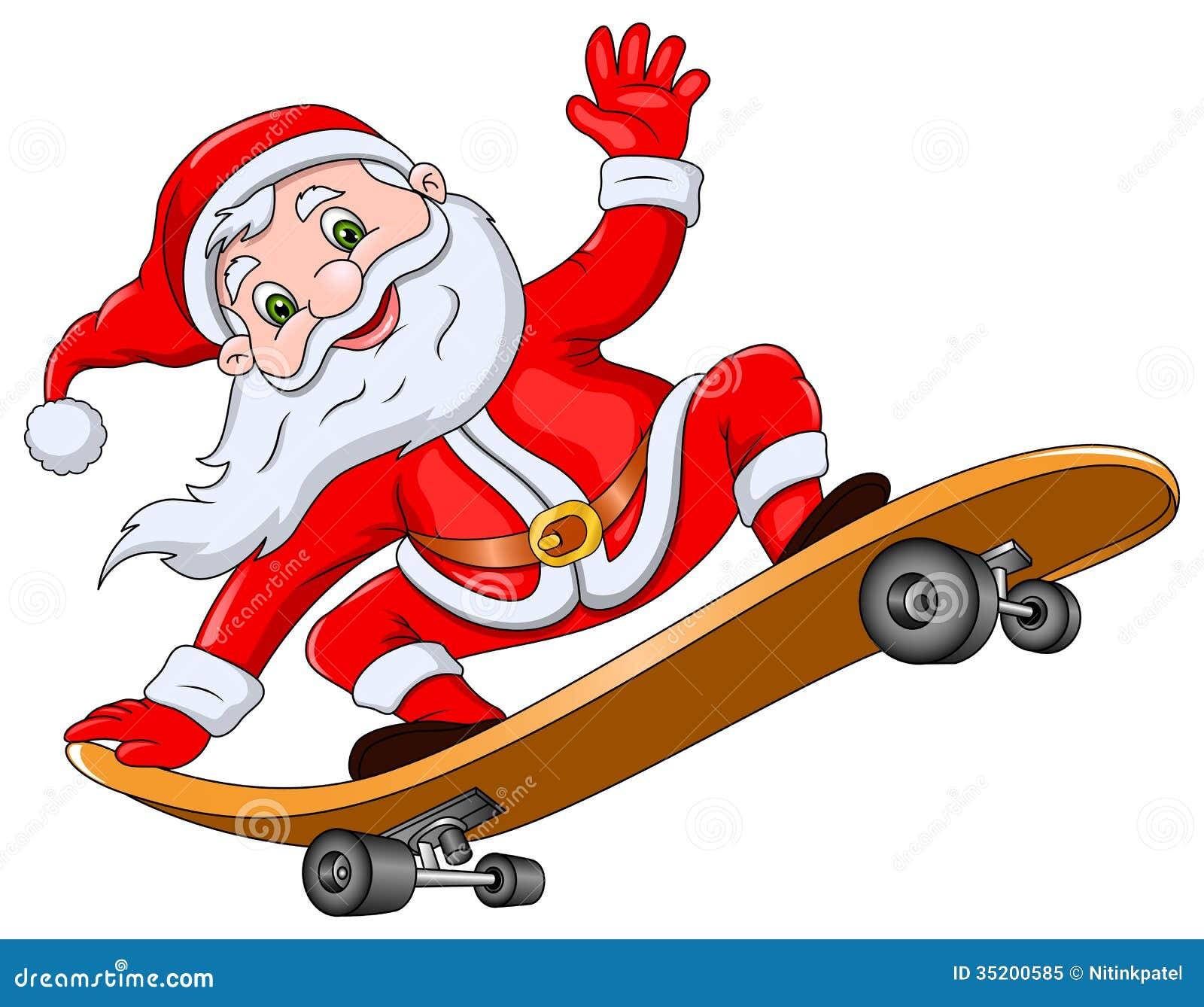 Santa Claus On Skateboard Stock Illustration Image Of Click Santa Claus Skateboard