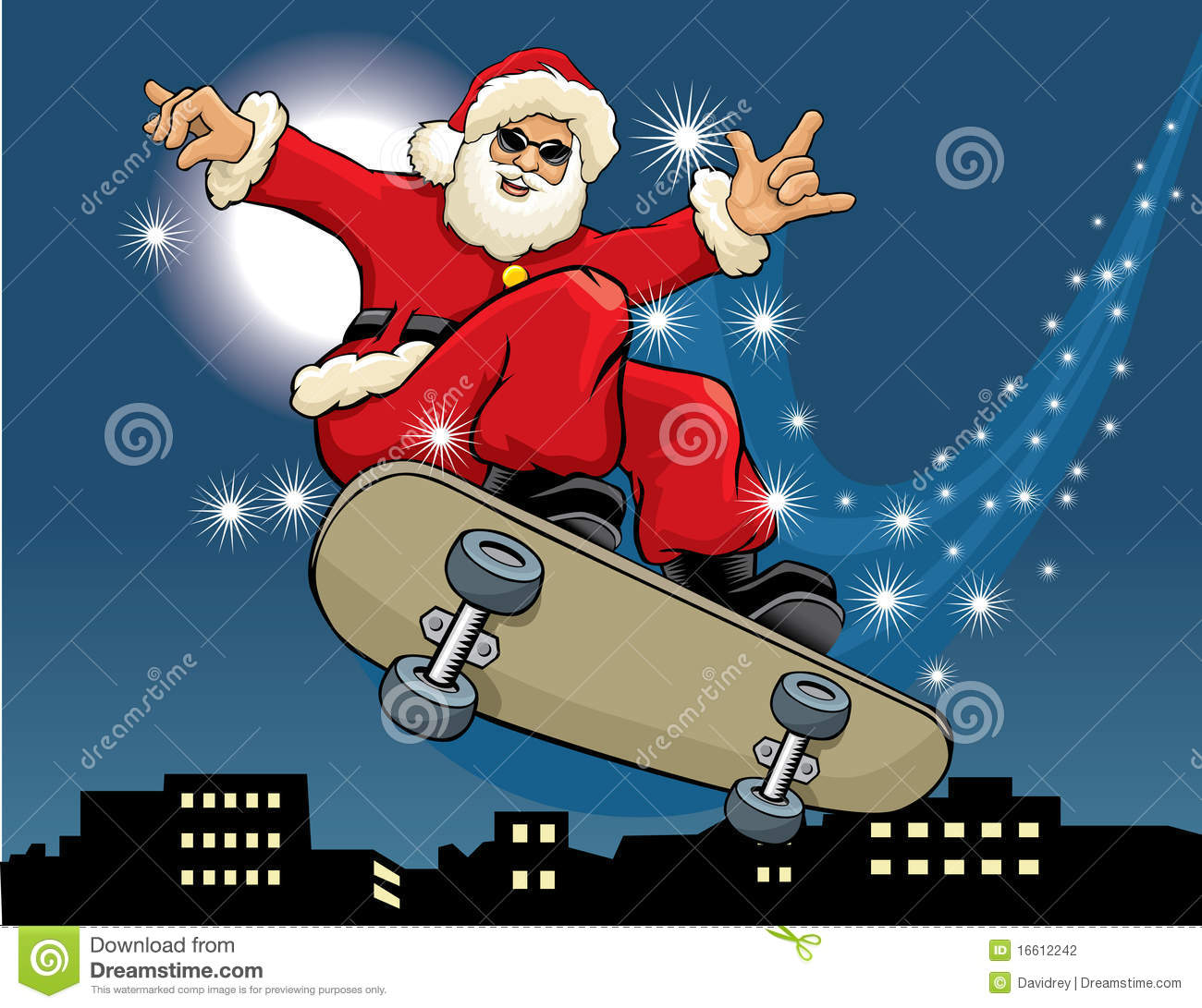 Santa Claus Skateboarding Stock Photography - Image: 16612242