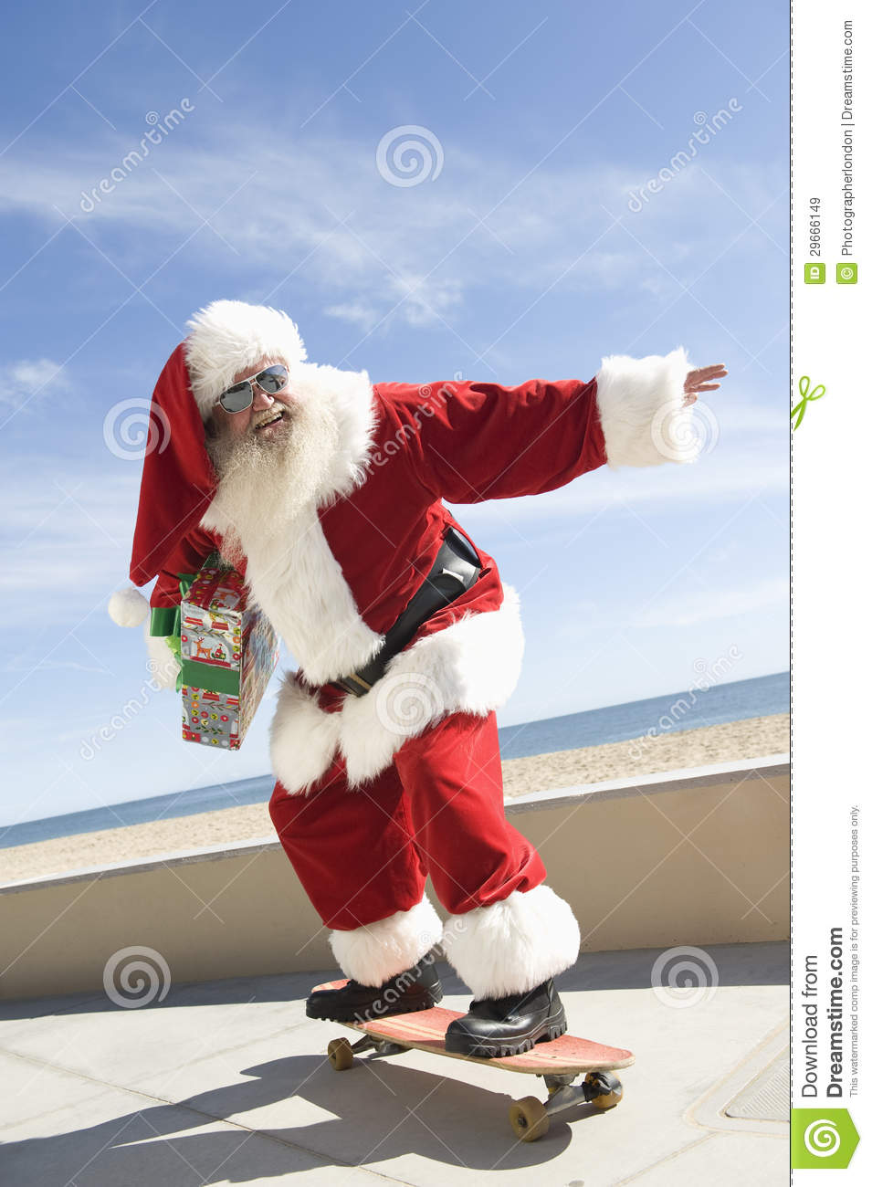 Santa Claus Skateboarding With Gift In Hand Stock Image Click Santa Claus Skateboard