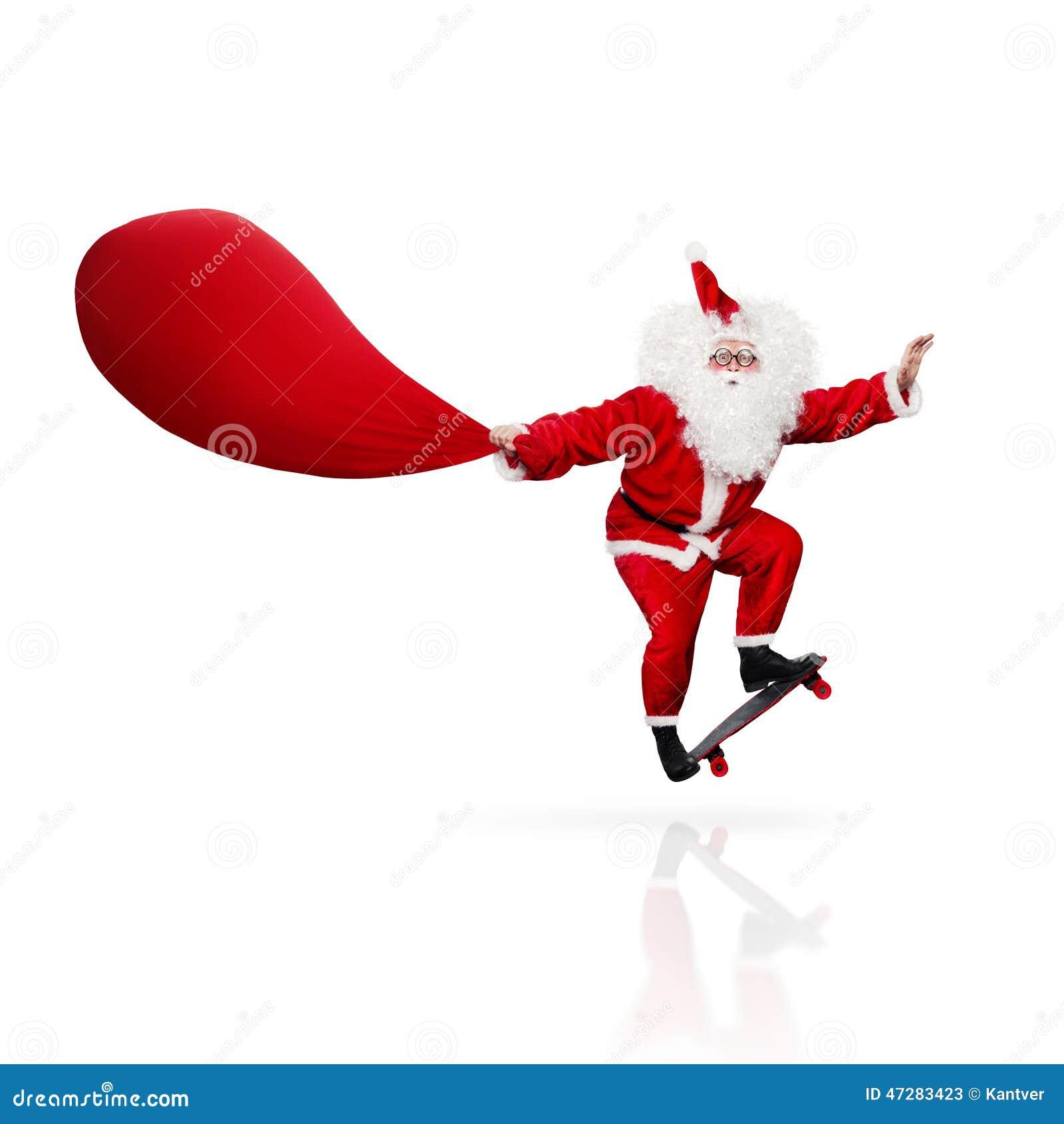 Santa Claus Skateboarding Isolated On White Stock Image Click Santa Claus Skateboard