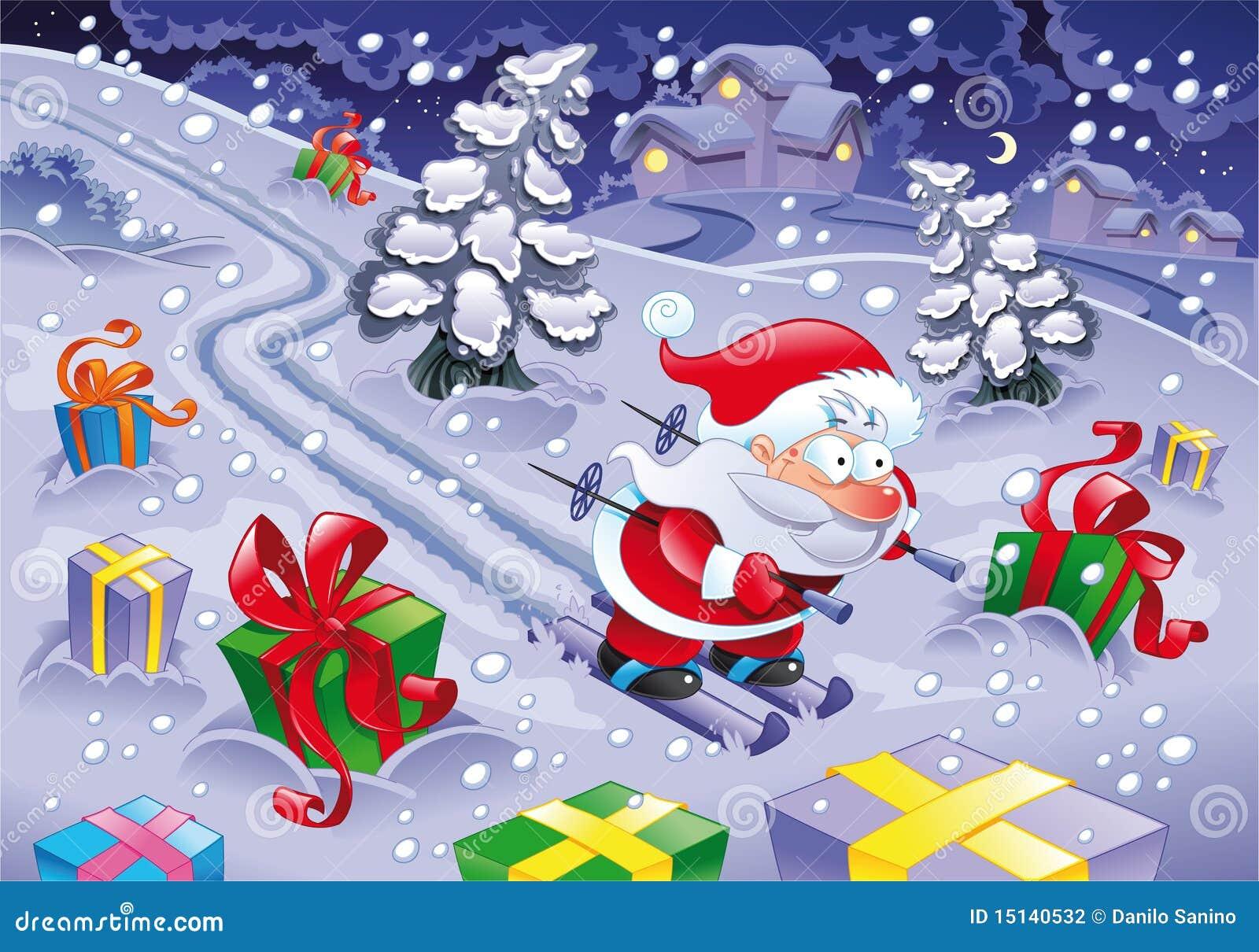 Santa Claus skiing in the night.