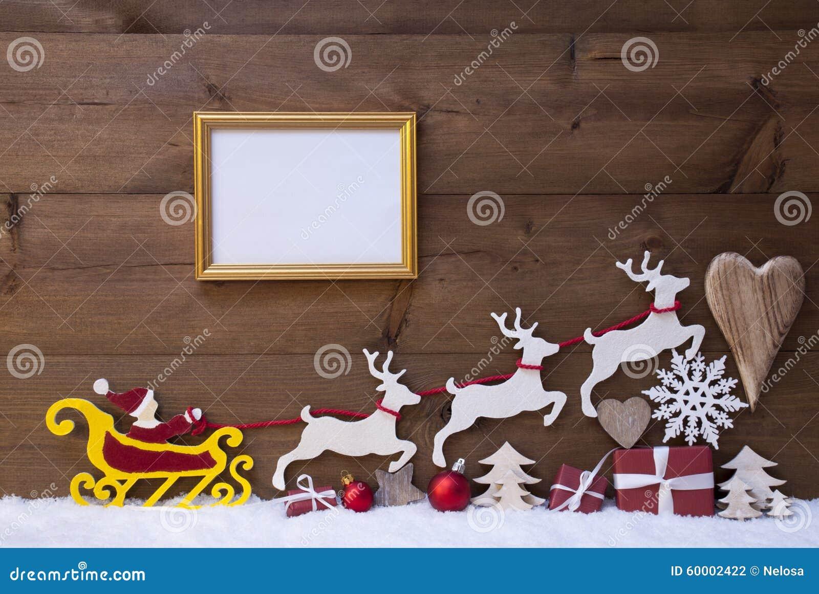 Christmas Santa Sleigh Reindeer Decoration  from thumbs.dreamstime.com