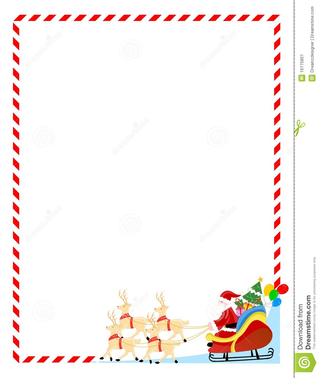 Santa Claus on a sledge with cute deers colorful Christmas border.