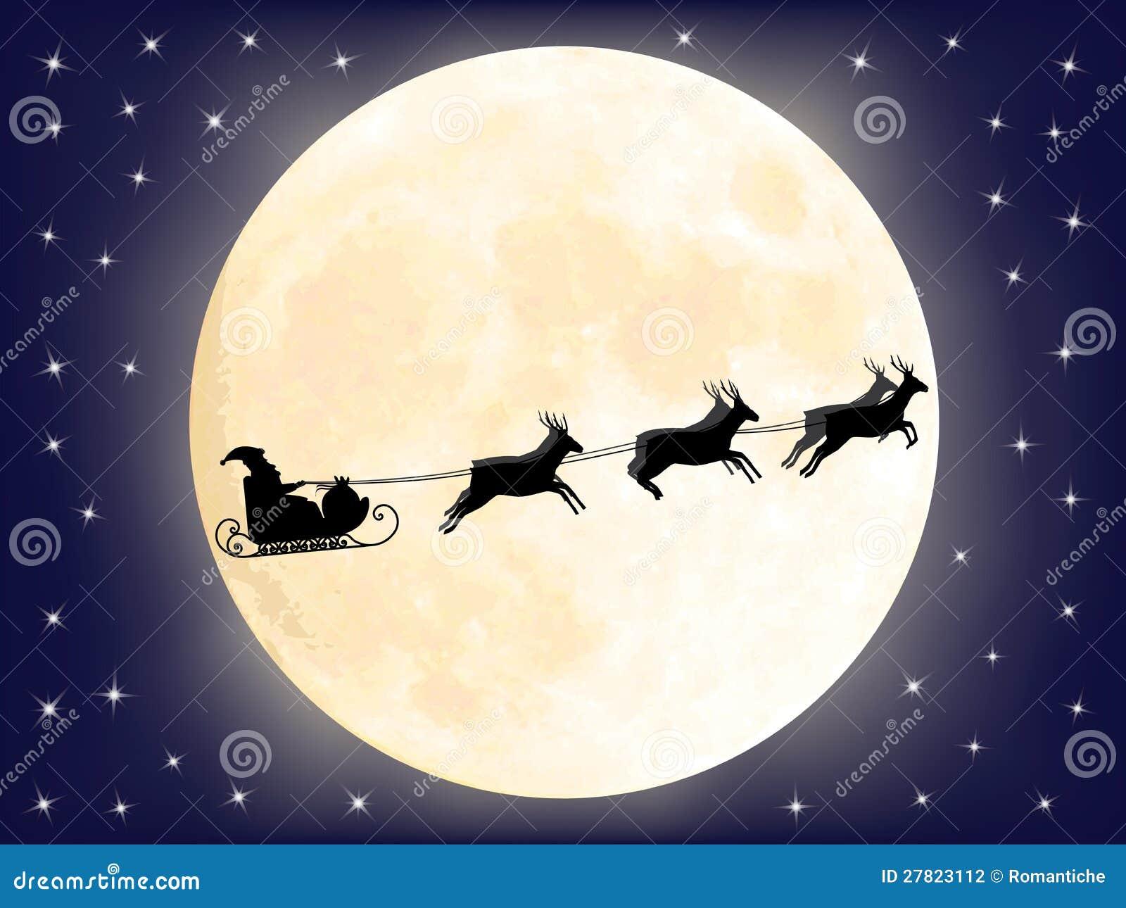 Santa sleigh silhouette moon santa claus sledge over moon stock