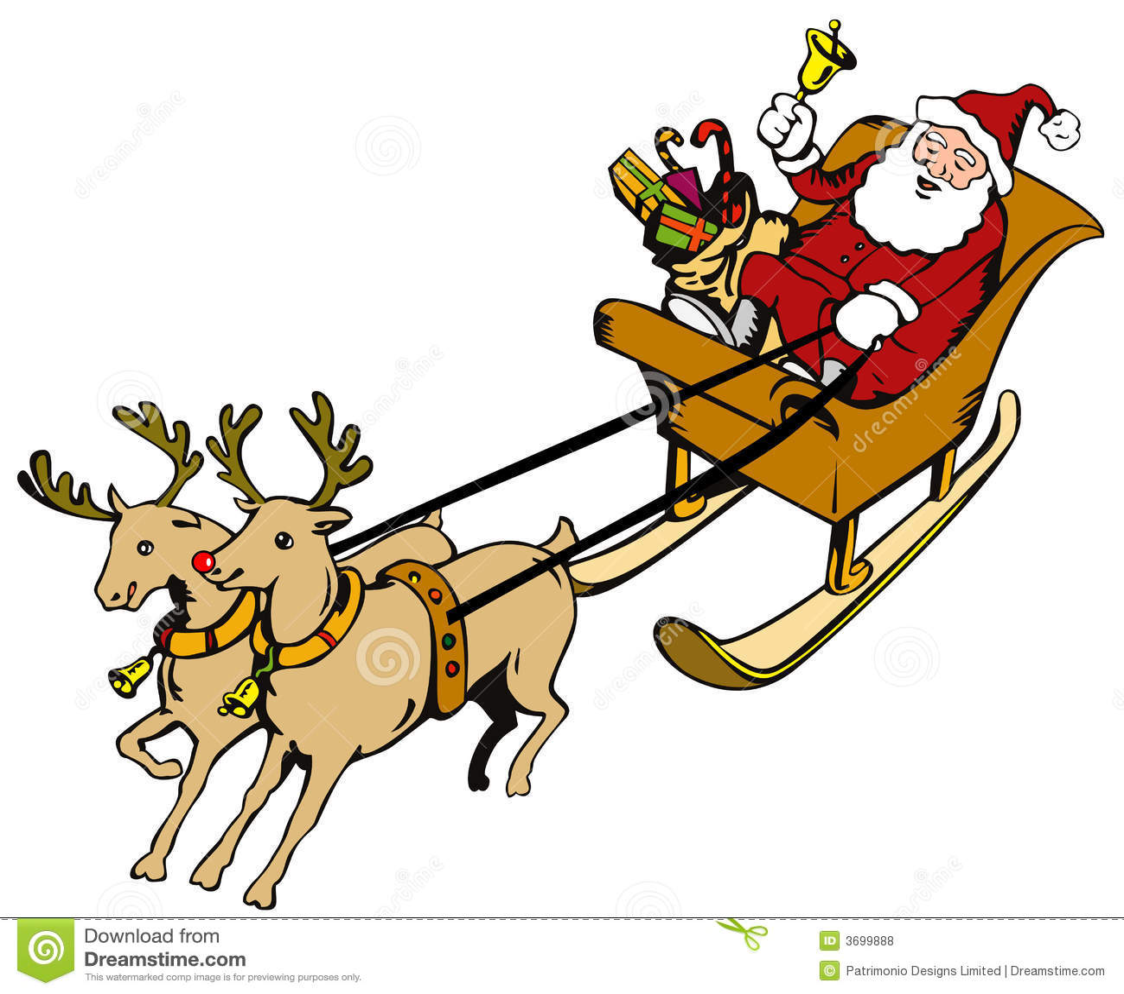 santa claus in a sleigh royalty free stock photos image 3699888