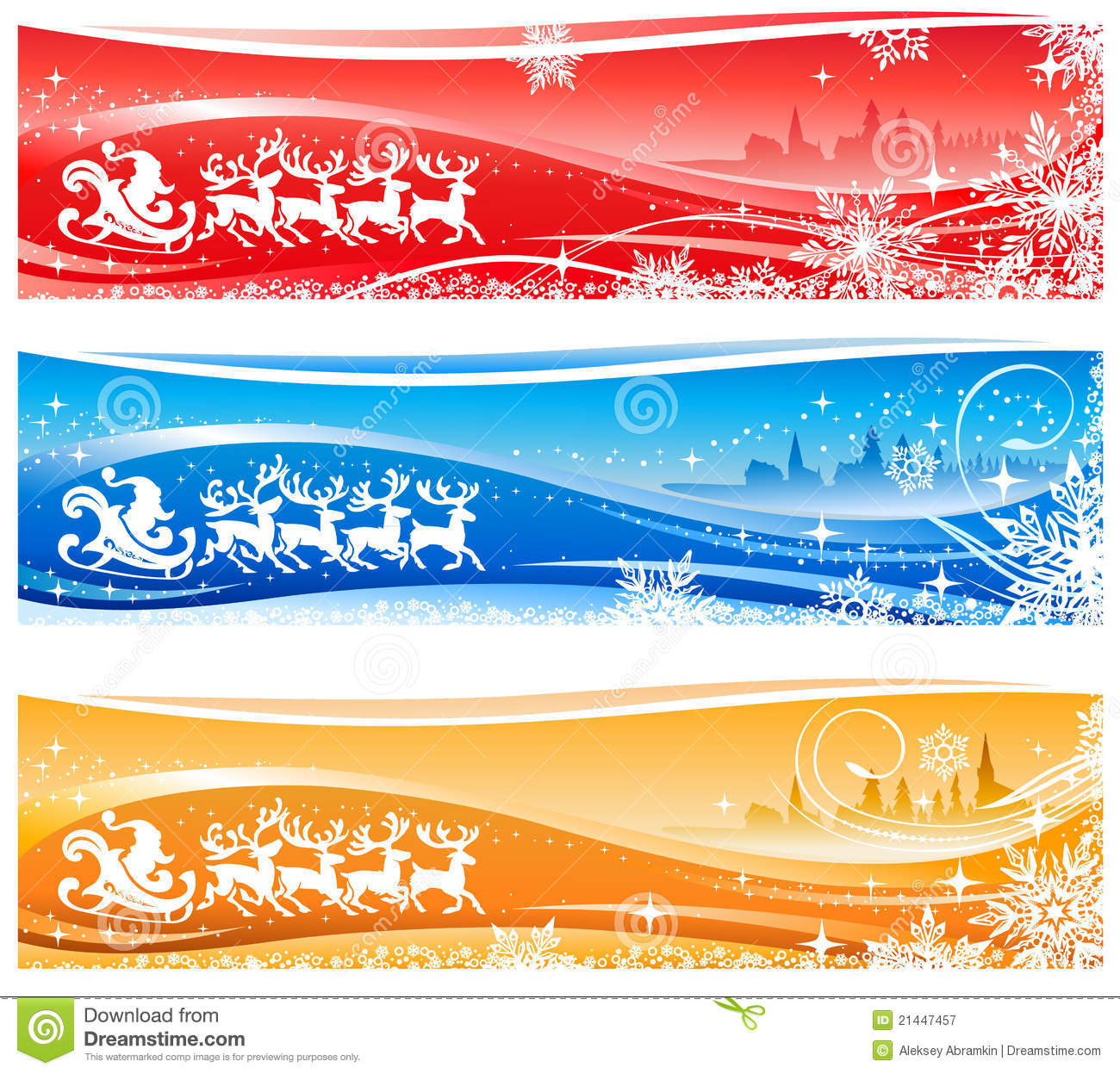 ... Santa Claus flying over a city in his sleigh, reindeers, swirls and