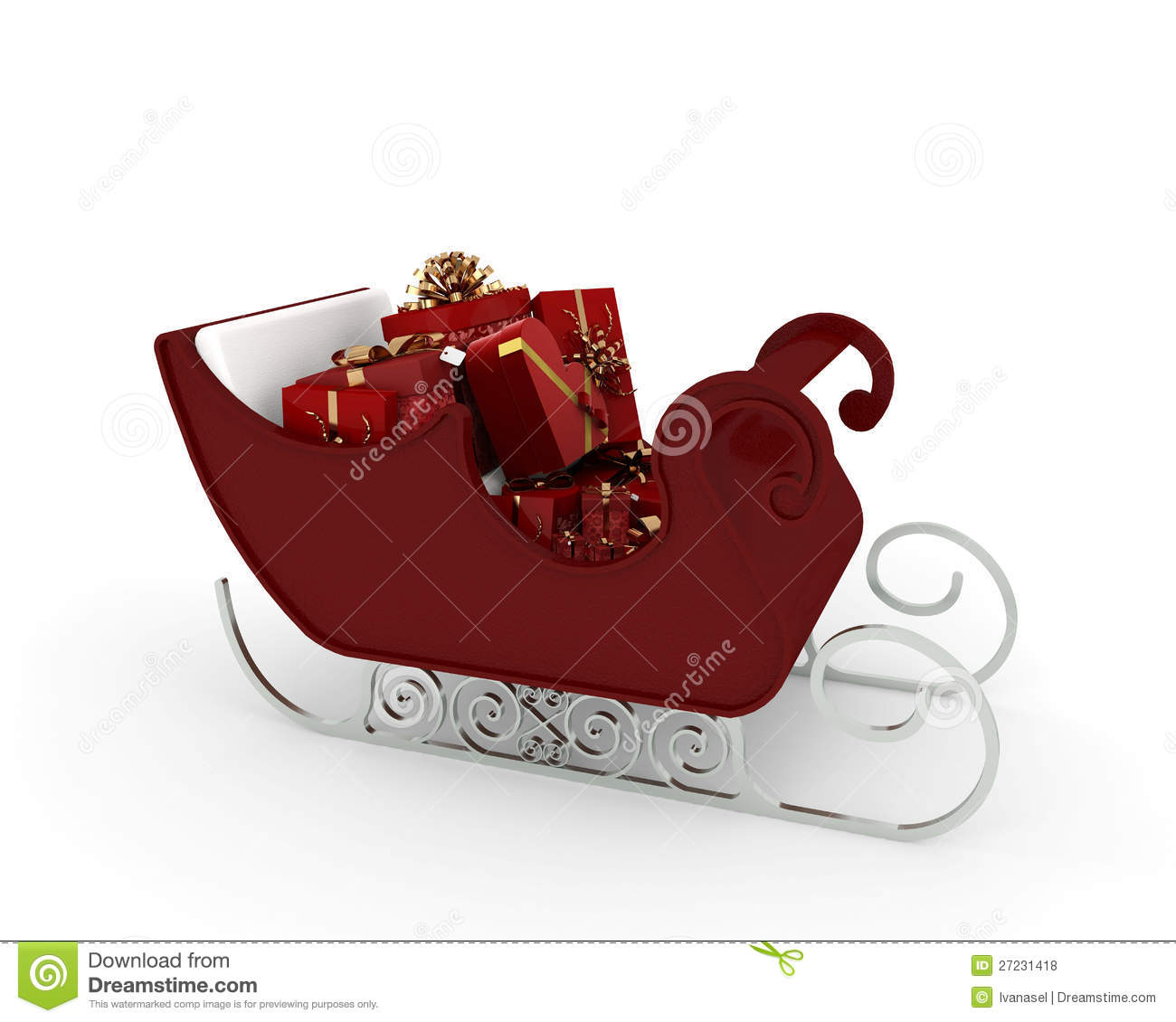 Santa Claus sleigh with many red gift with gold ribbons on white ...