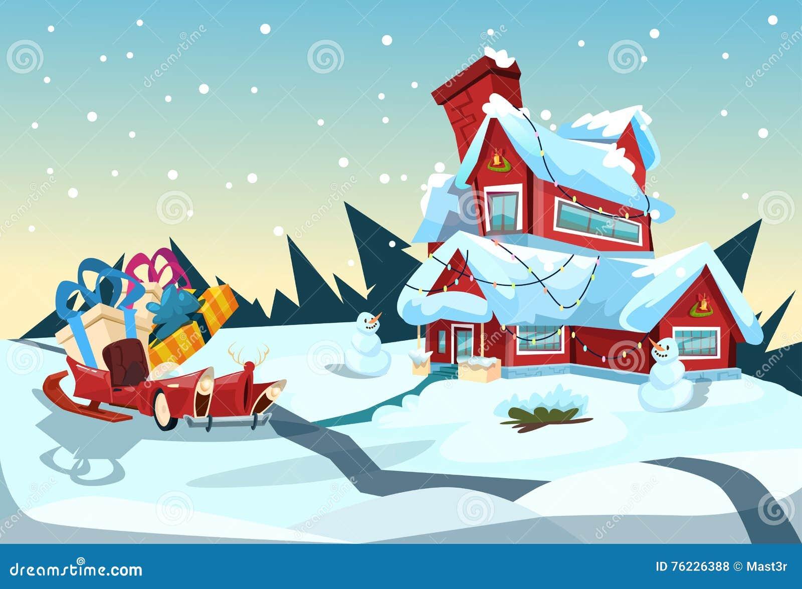 Santa Claus Sleigh Near House Christmas-de Groetkaart van het Vieringsnieuwjaar