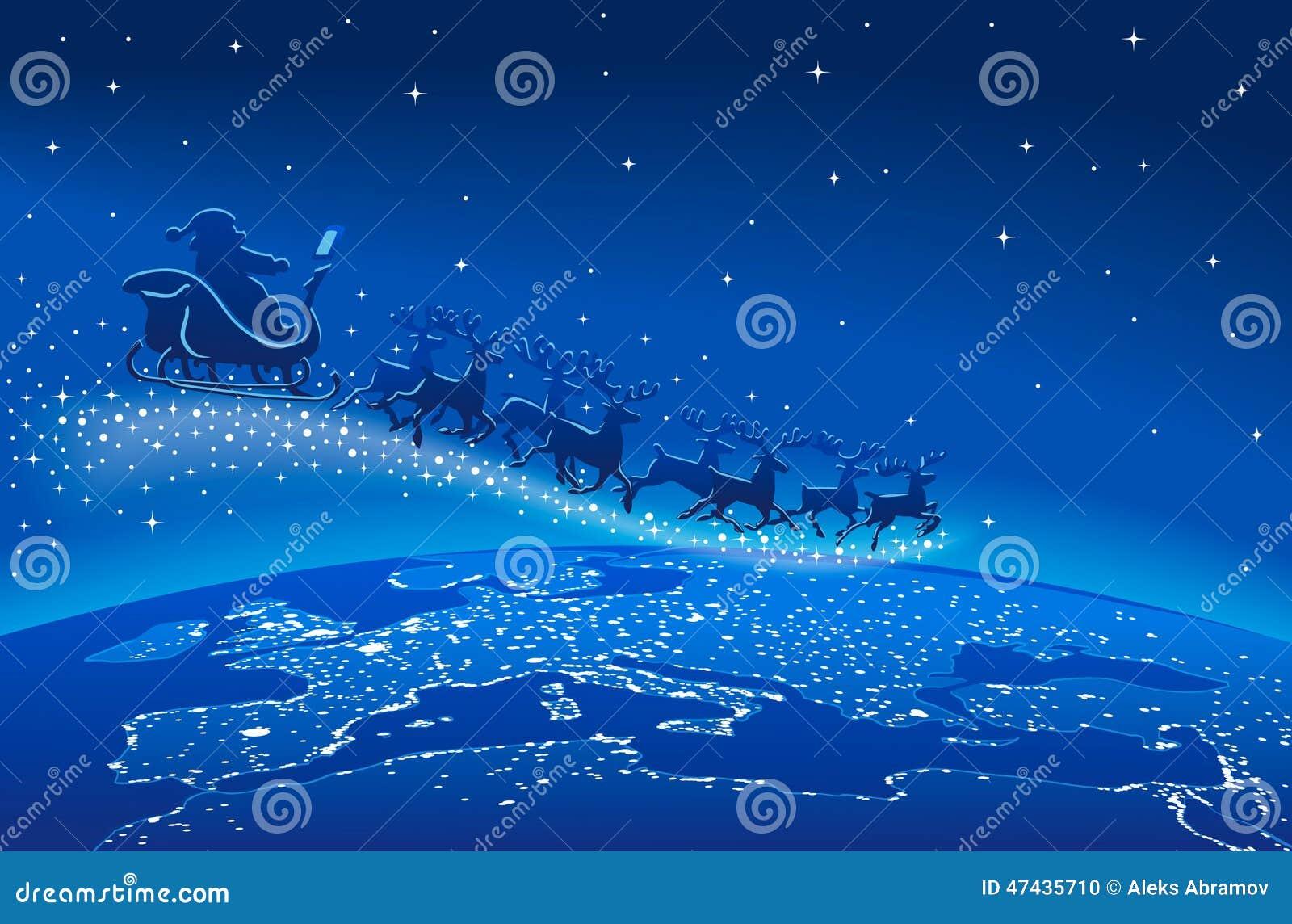 Santa claus sleigh reindeer blue stars stock photo image
