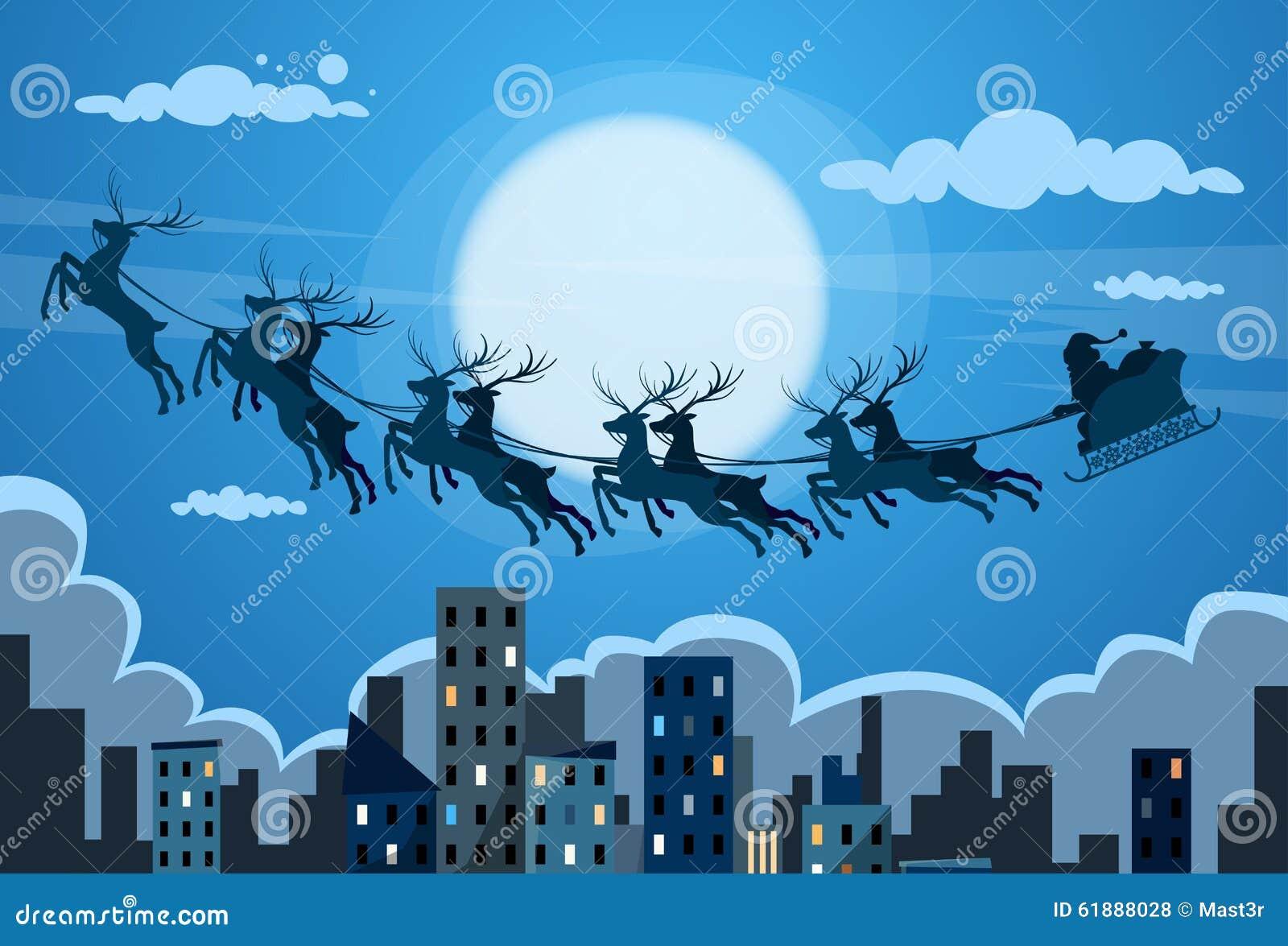 Santa Claus Sleigh Reindeer Fly Sky Over City Stock Vector