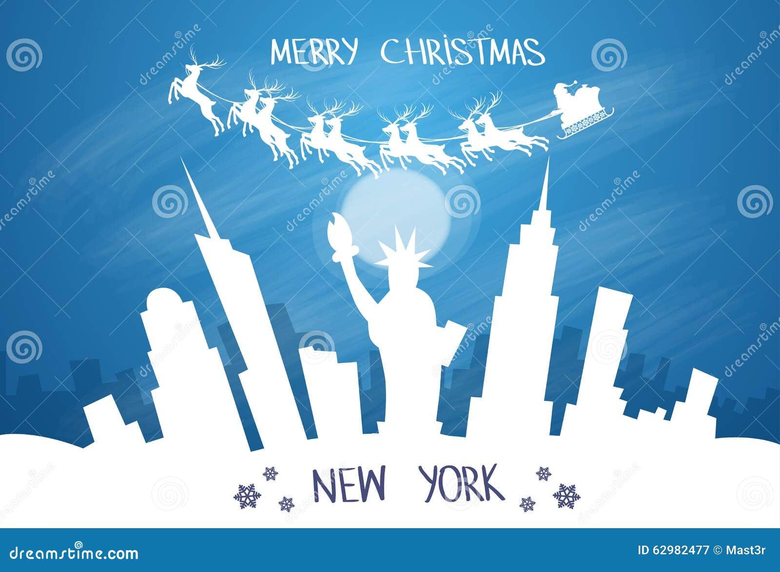 Santa Claus Sleigh Reindeer Fly Sky sobre New York