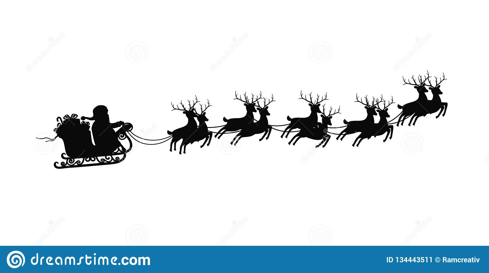 Santa Claus On Sleigh With Reindeers On On White Background