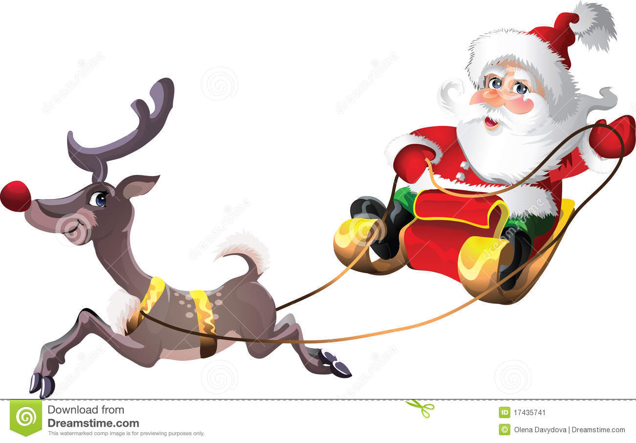 Santa-Claus In Sleigh With Rudolph Stock Image - Image: 17435741