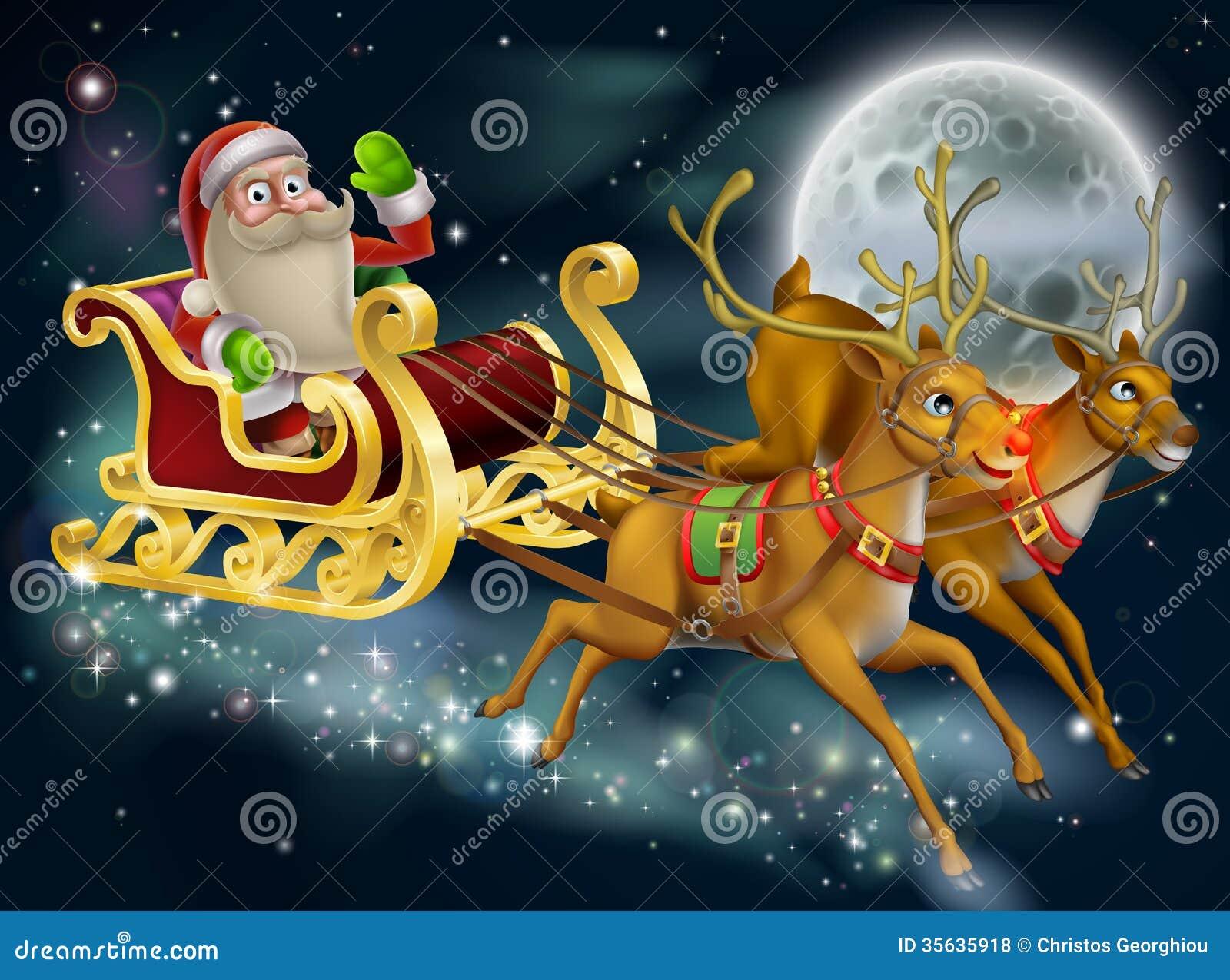 Santa Claus Sleigh Scene Stock Vector Illustration Of