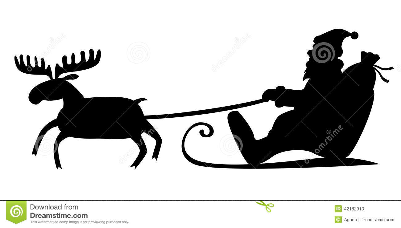 Silhouette image of Santa Claus riding a sleigh with reindeer.