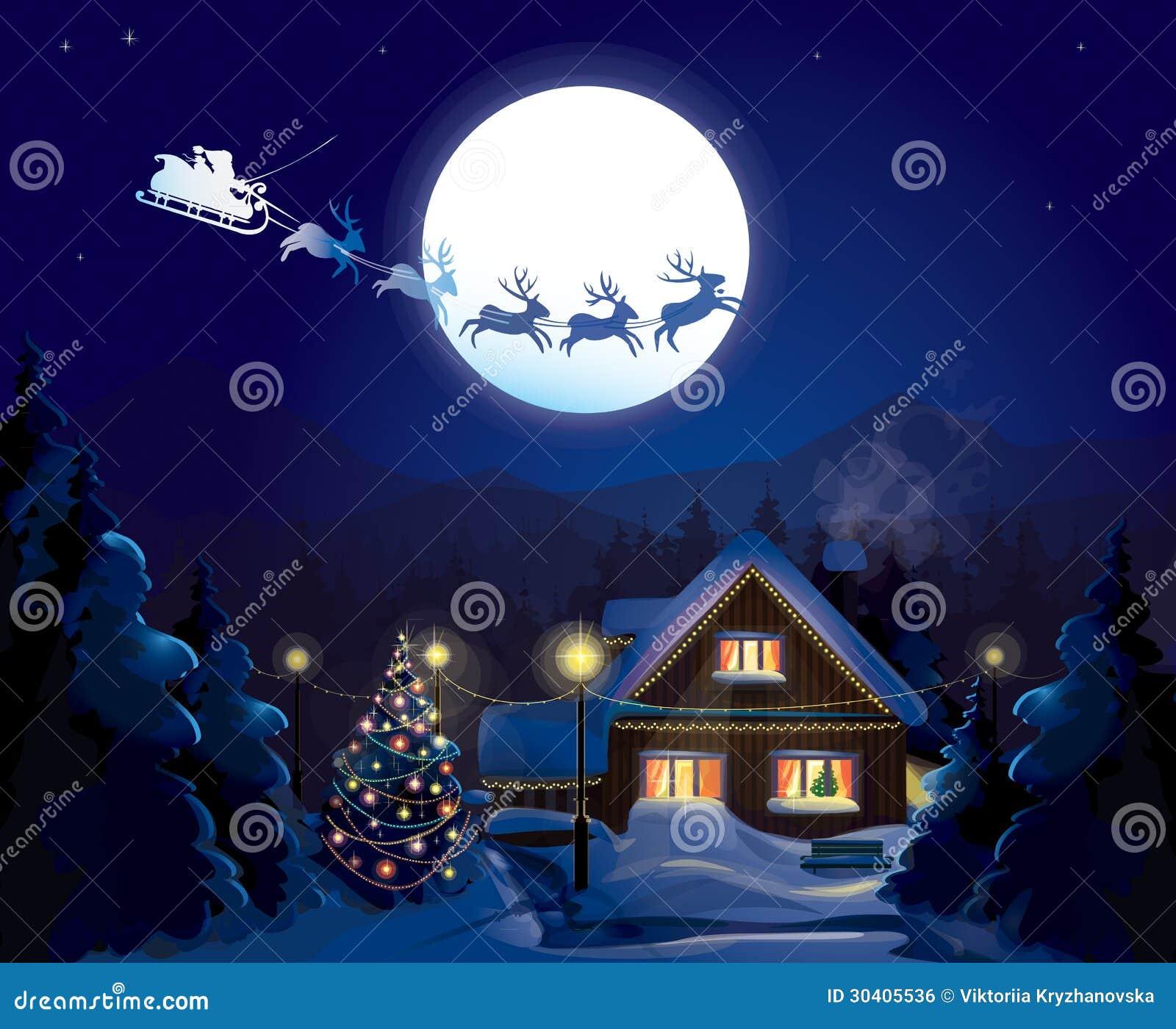 Santa Claus Sleigh, Vektor vektor abbildung. Illustration von nacht ...