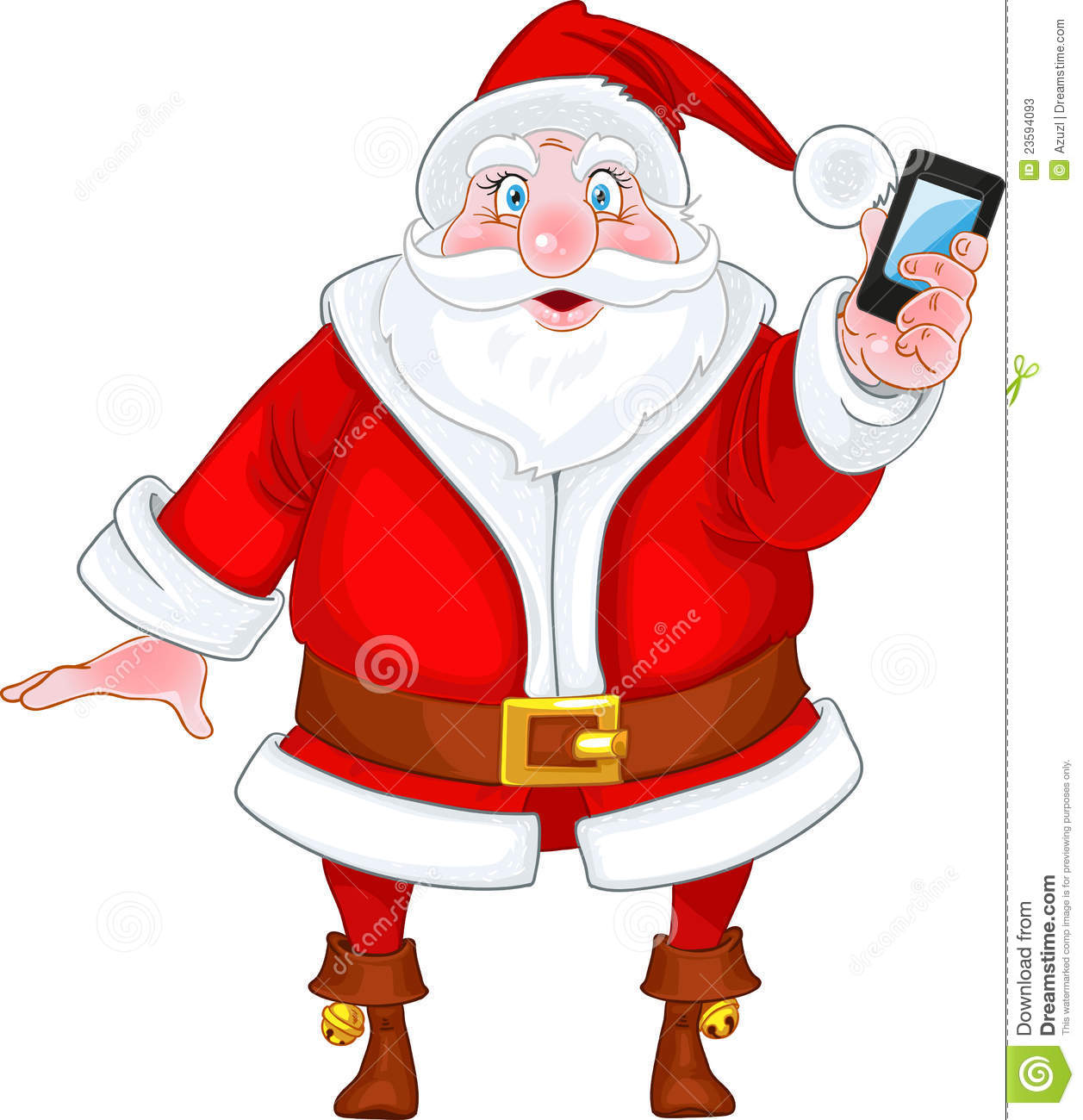 santa claus with a smart phone