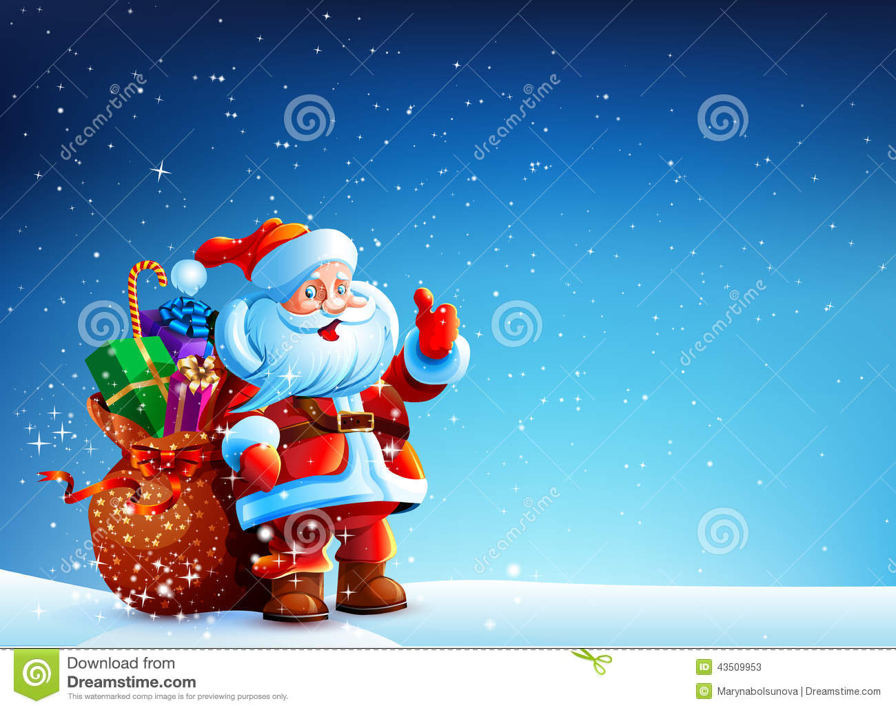 Santa claus in the snow with a bag of gifts stock vector