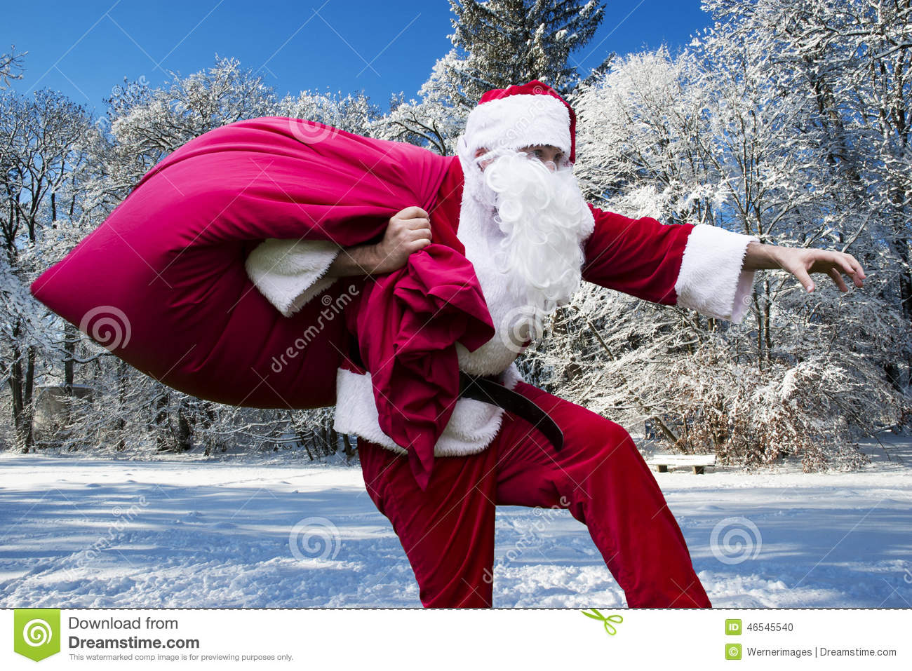 Santa Claus In The Snow Stock Photo. Image Of Christmas