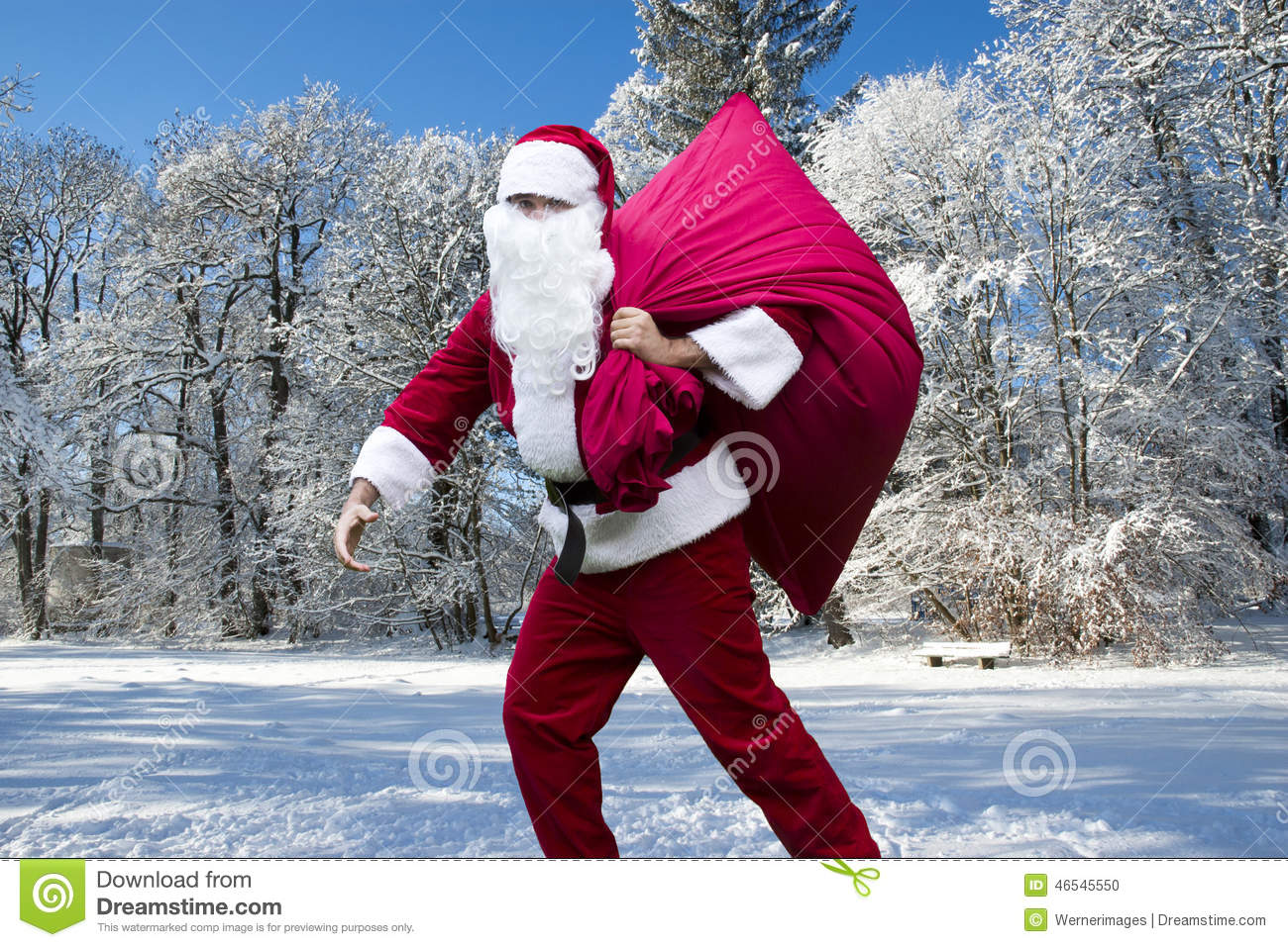 Santa Claus In The Snow Stock Photo. Image Of Holiday