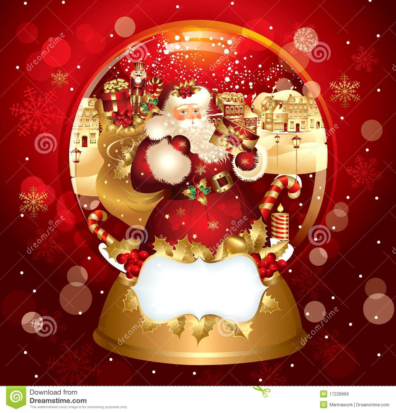 Santa claus in snowglobe stock vector image of christmas for Clipart natale free download