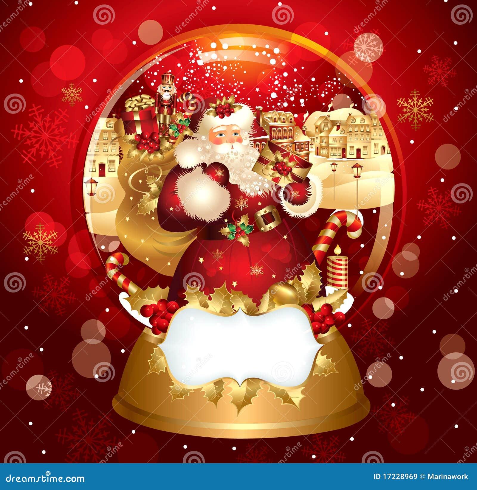 Santa claus in snowglobe stock vector image of christmas