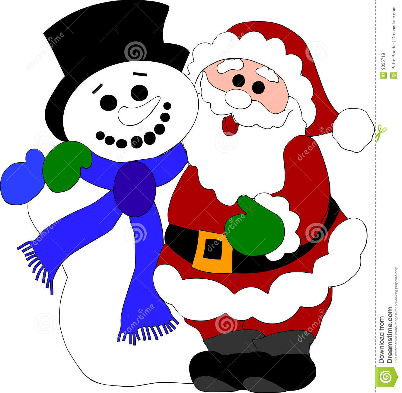 Santa Claus And Snowman Stock Vector Illustration Of Winter 9335718