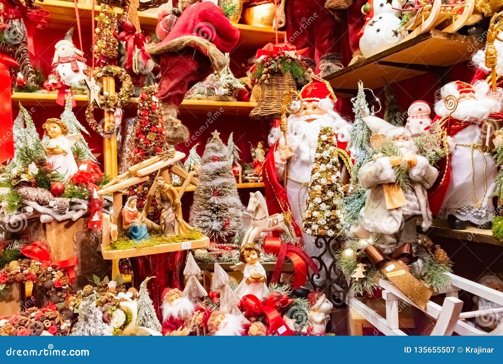 Santa Claus And Snowman Christmas Decorations At The
