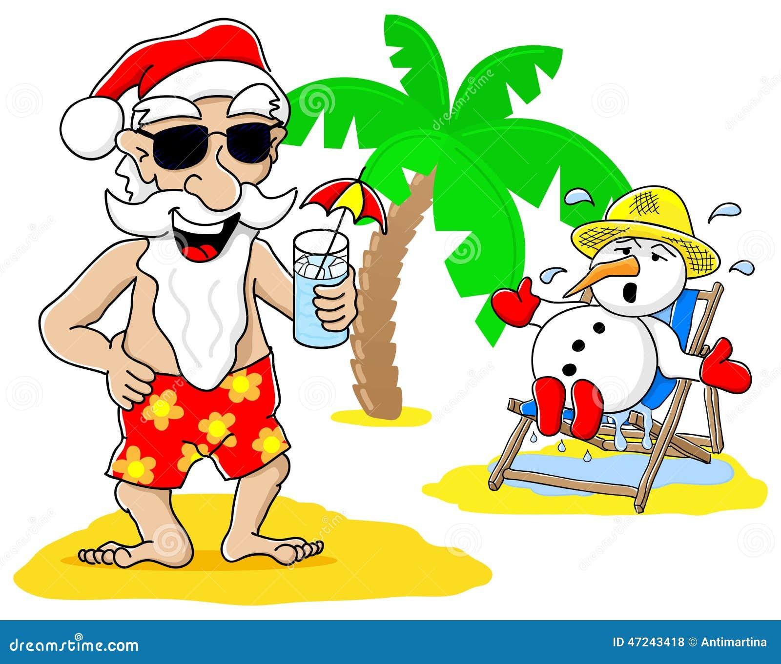 ... Vector: Santa claus and snowman at christmas on vacation at the beach
