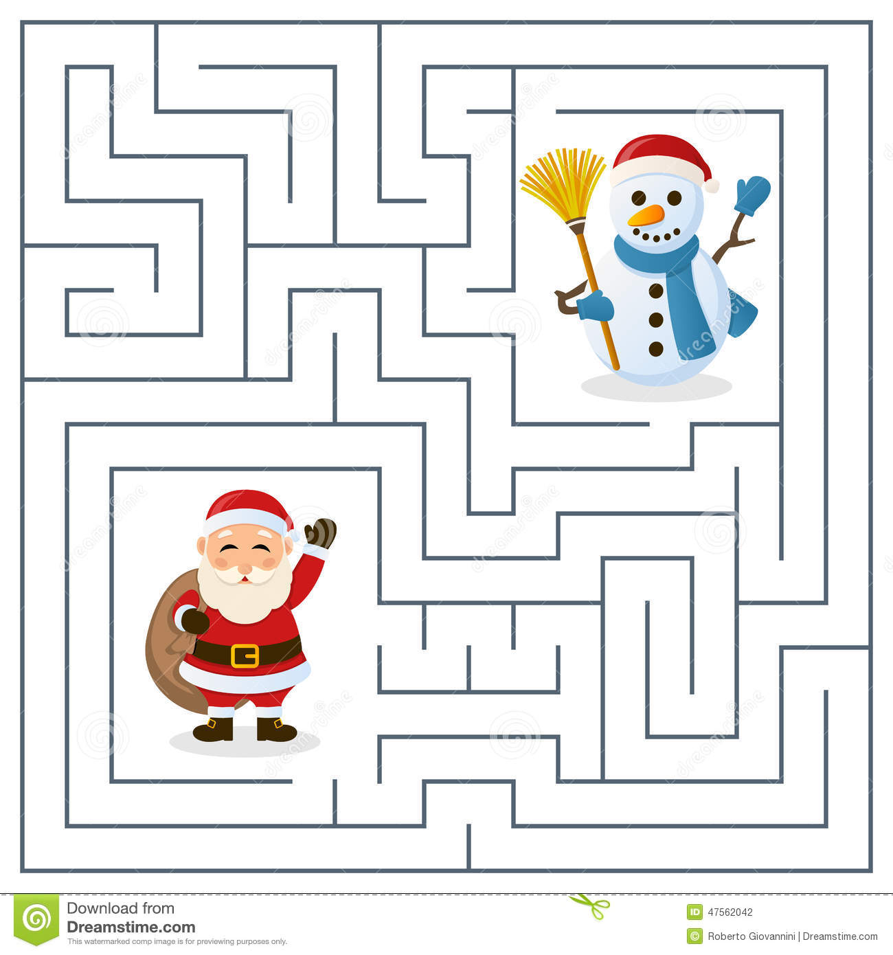 Santa Claus Snowman Maze Kids Christmas Game Children Help Find Way To To Celebrate Christmas Together Eps File on santa claus printable cutouts