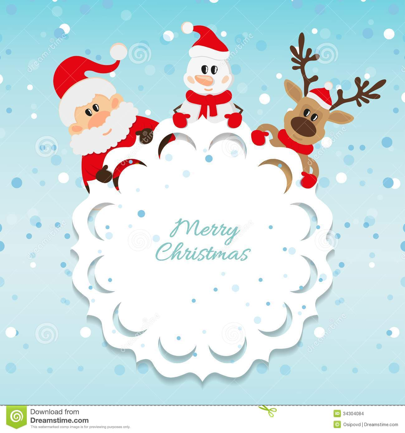 Santa Claus Snowman And Reindeer Blue Background Stock