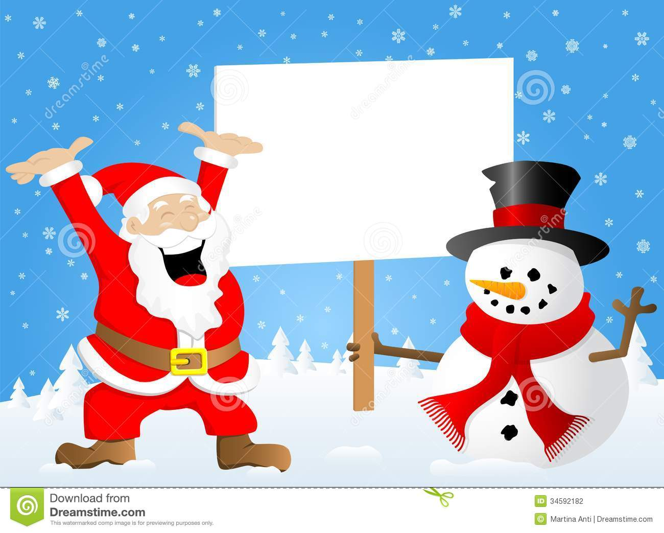 santa claus and a snowman with sign in his hand stock photography - Santa Snowman