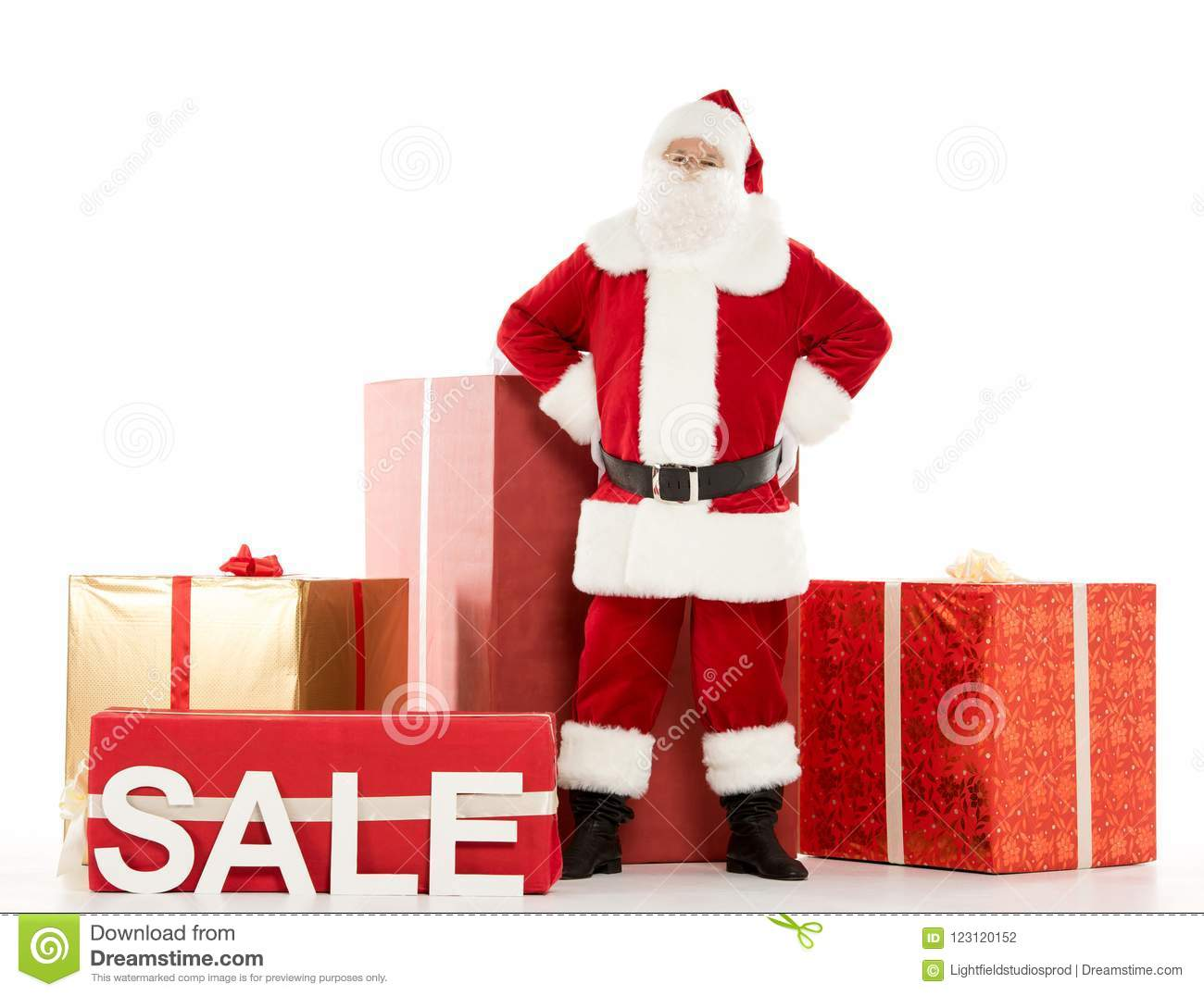 Santa Claus Standing With Sale Sign Stock Photo - Image of nicholas ...