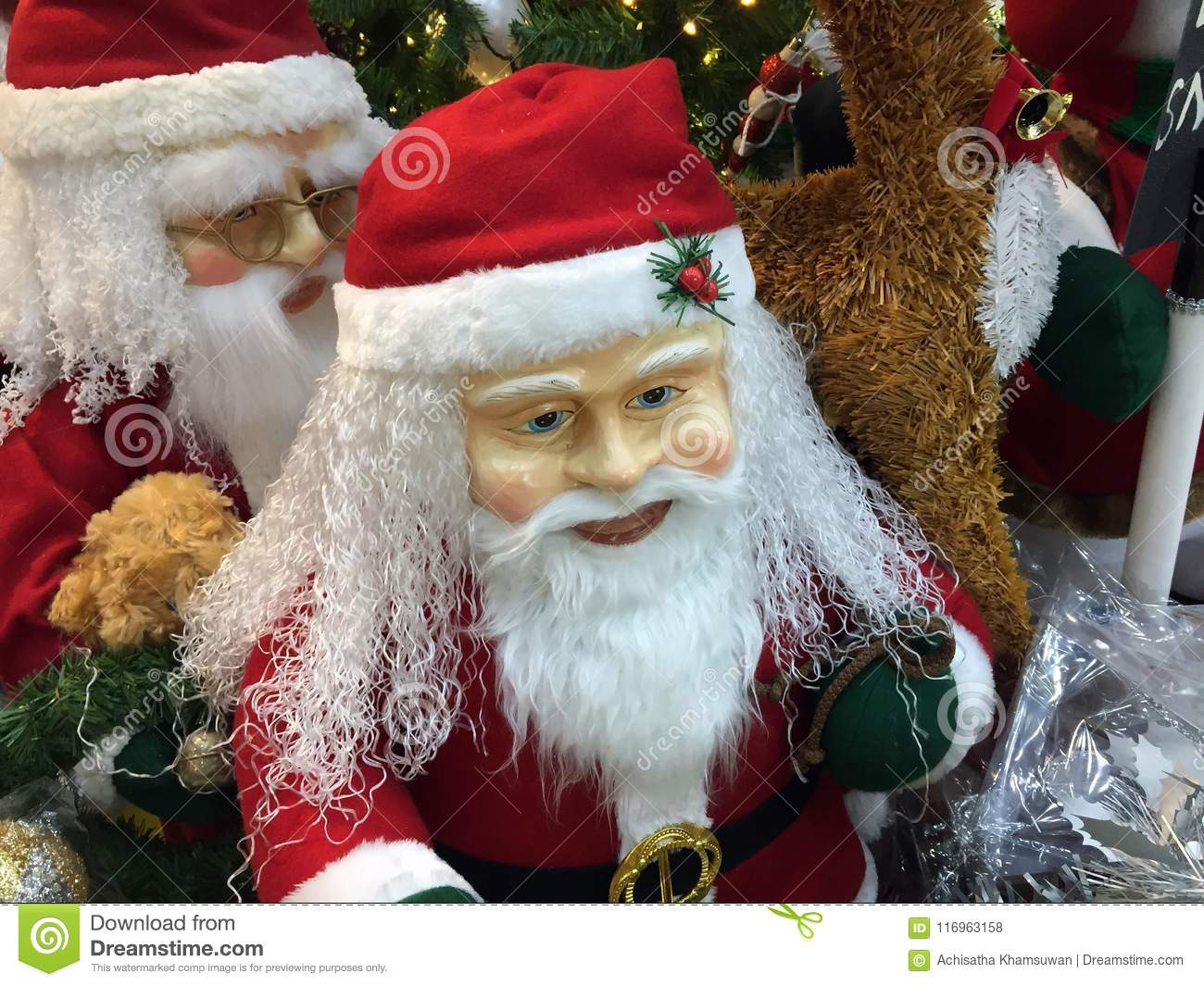 Santa Claus Statue With Christmas Decoration. Santa To