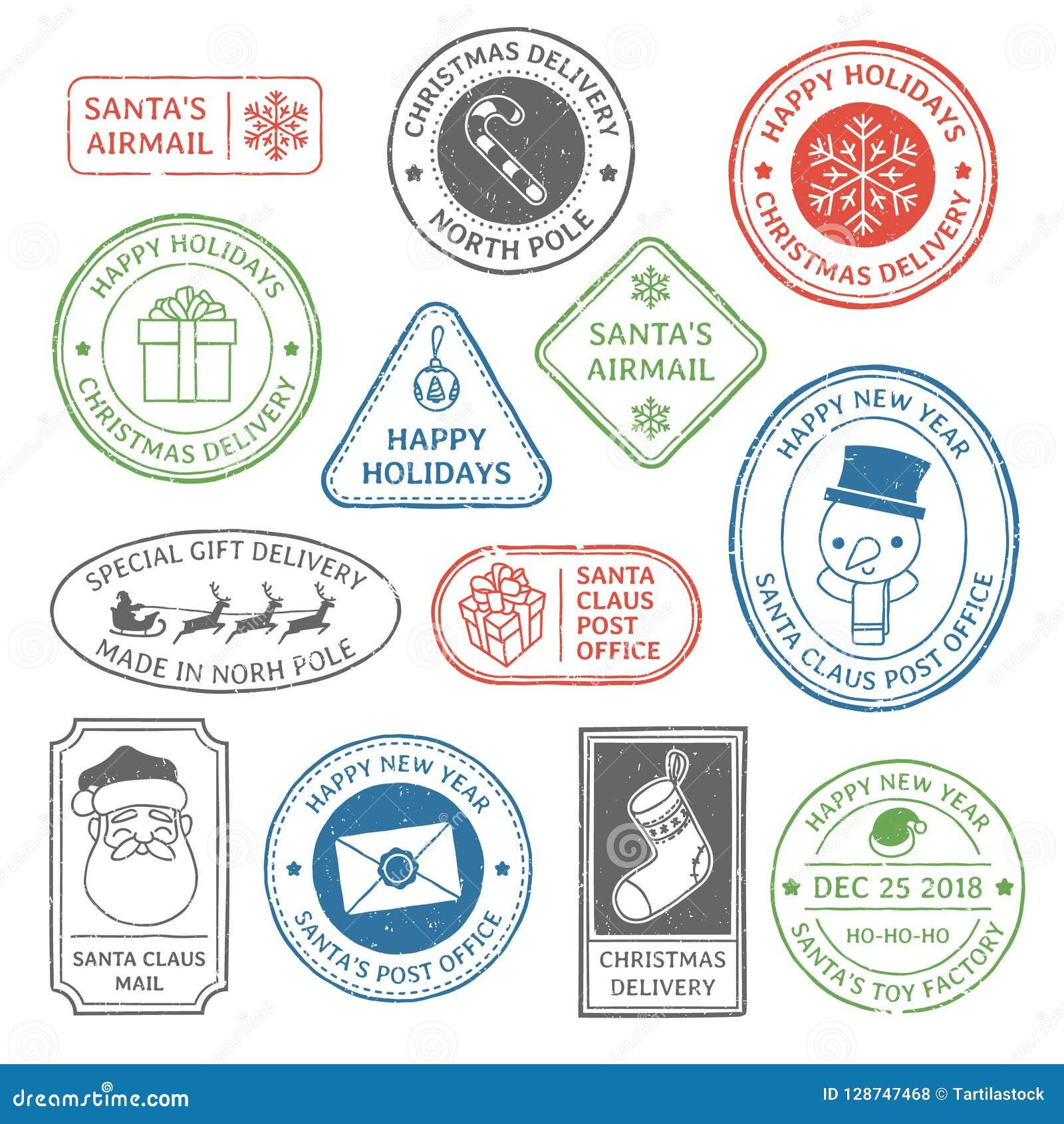 Santa Claus stolpestämpel Stämplar för julpostbokstav, nordpolenpoststämpel och etikett för kort för ferie för portofläckxmas