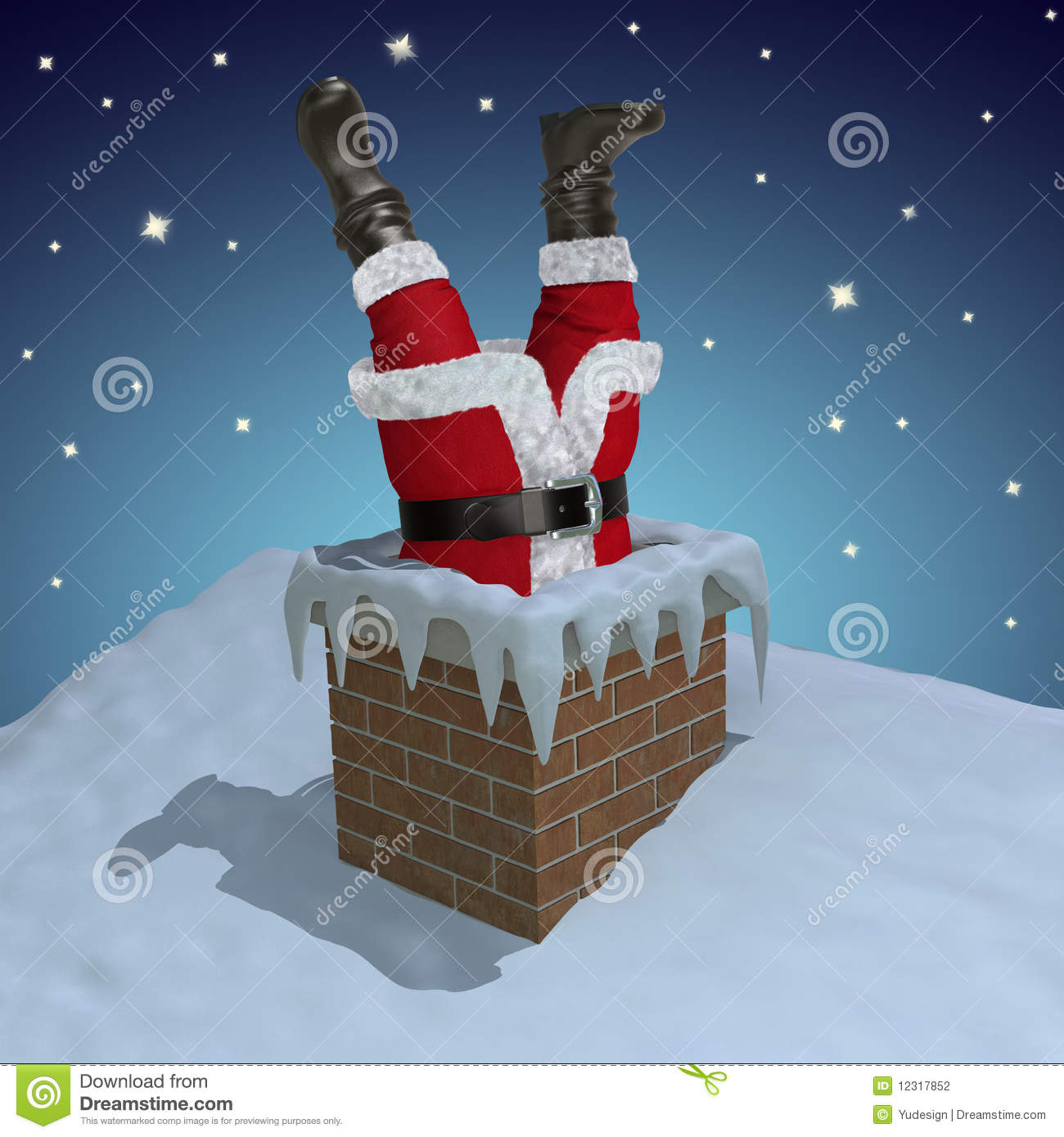 Santa Claus Stuck In The Chimney Stock Photography - Image: 12317852