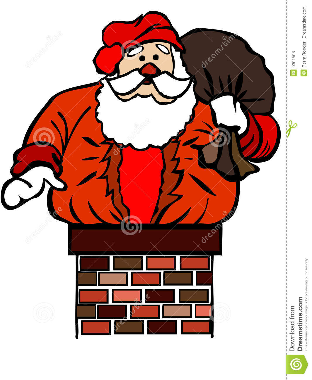 Illustration of Santa Claus stuck in chimney, isolated on white ...