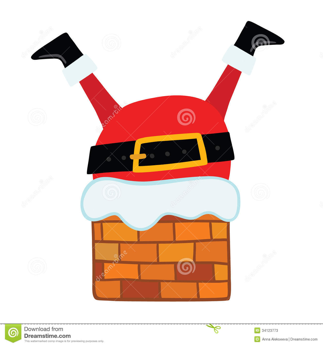 Santa Claus Stuck In The Chimney. Stock Photos - Image: 34123773