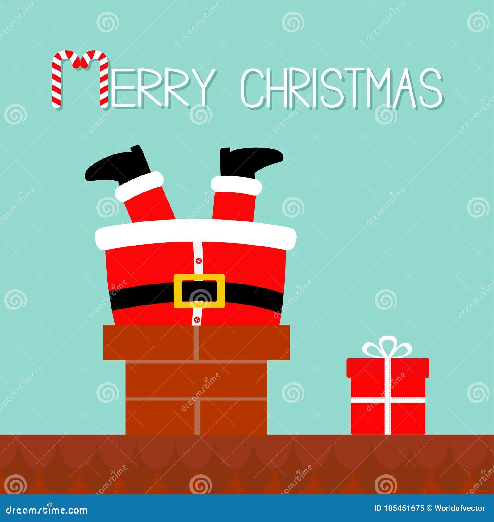 Santa Claus Stuck Chimney Stock Illustrations 285 Santa
