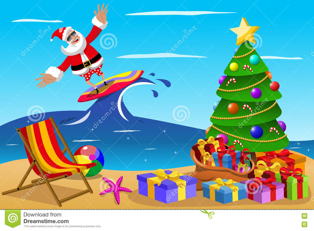 Christmas In Australia Cartoon.Santa Claus Surfing Xmas Time Stock Vector Illustration Of