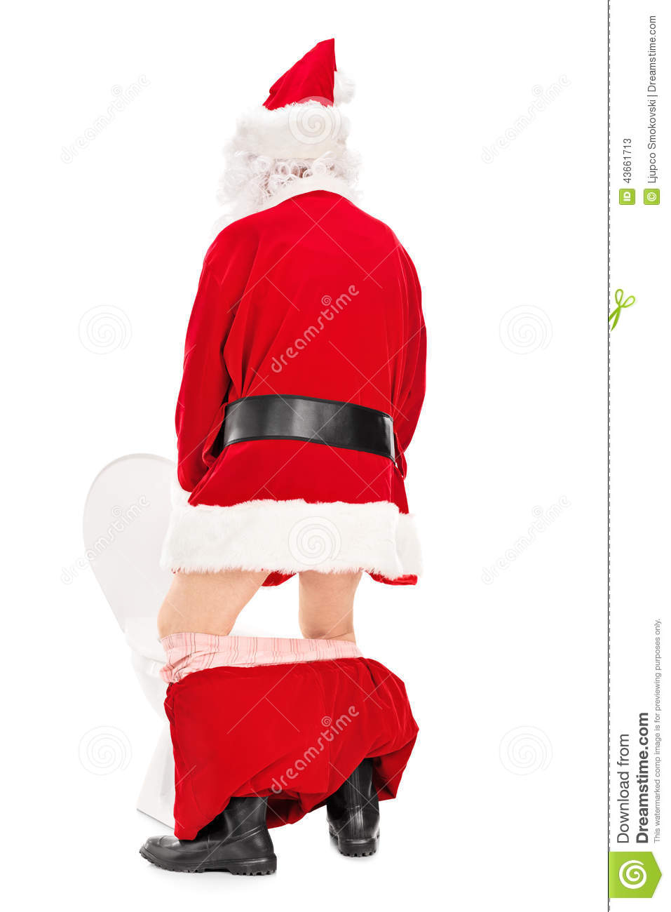 Santa Claus Taking A In A Toilet Stock Image Image Of