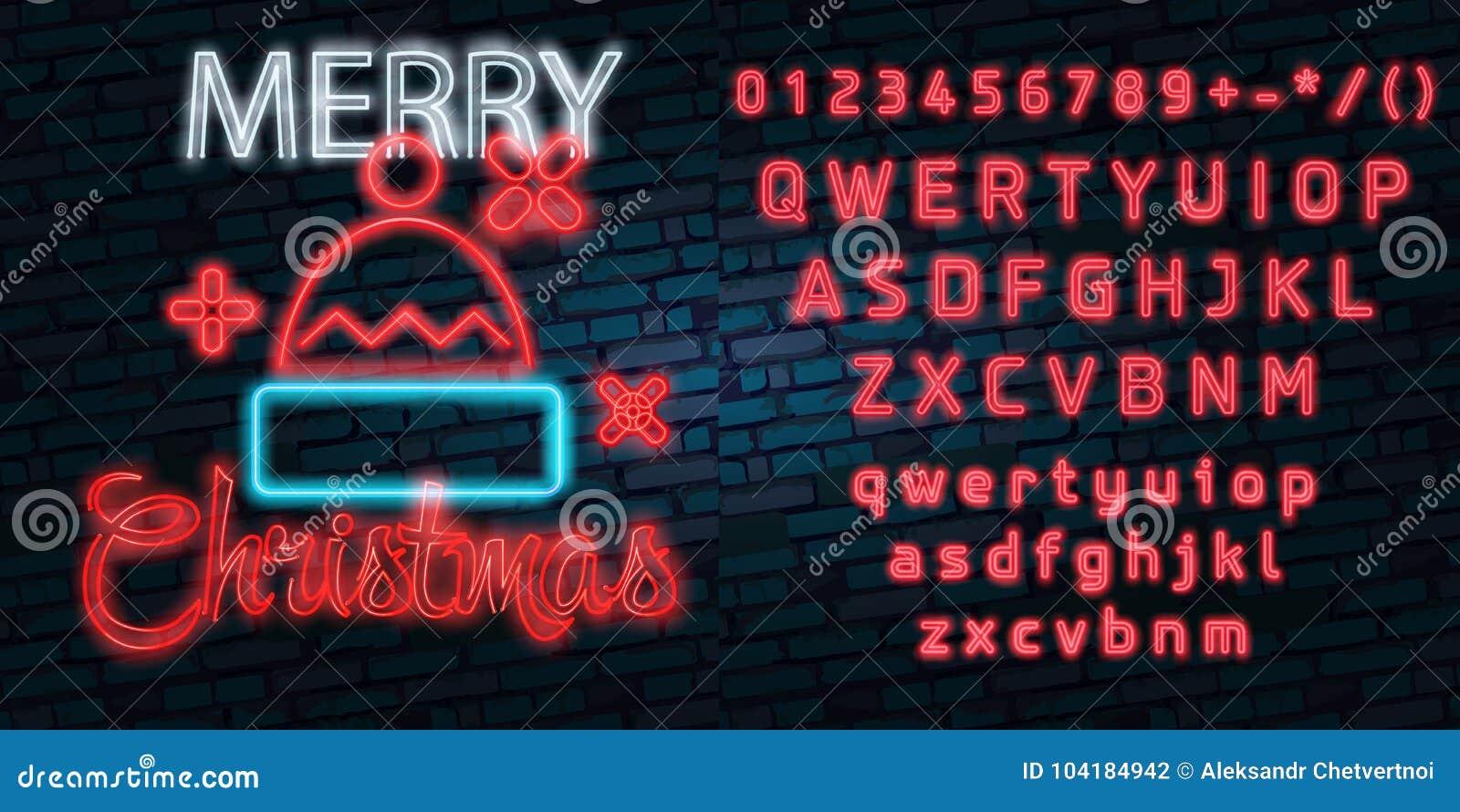 Santa Claus-teken Het teken van het neon Vrolijke Kerstmis en Nieuwjaarbanner, embleem, embleem en etiket Helder uithangbord, lic