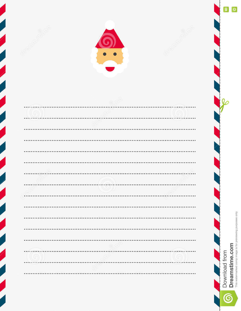 Santa claus template stock vector illustration of nick 80723693 a4 sized white lined letter with santa claus letterhead and red white and blue border maxwellsz