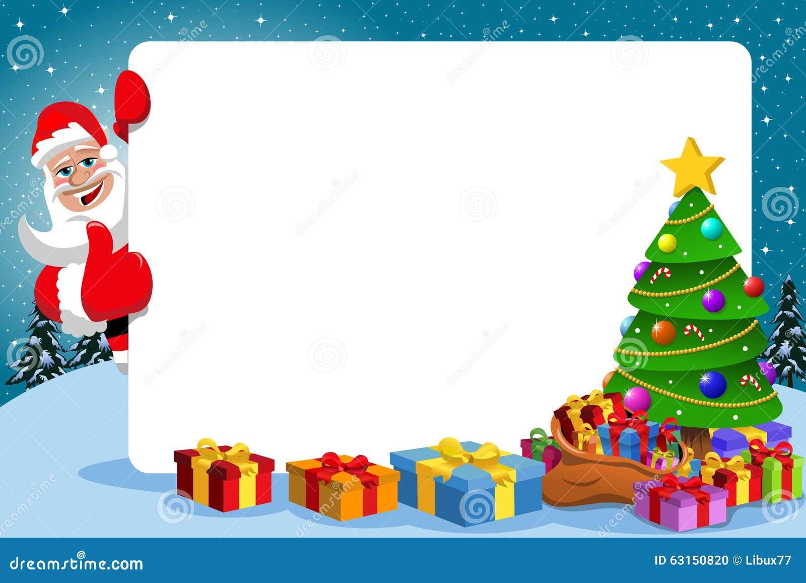 Santa Claus Thumb Up Frame Xmas Tree Stock Vector - Illustration of ...