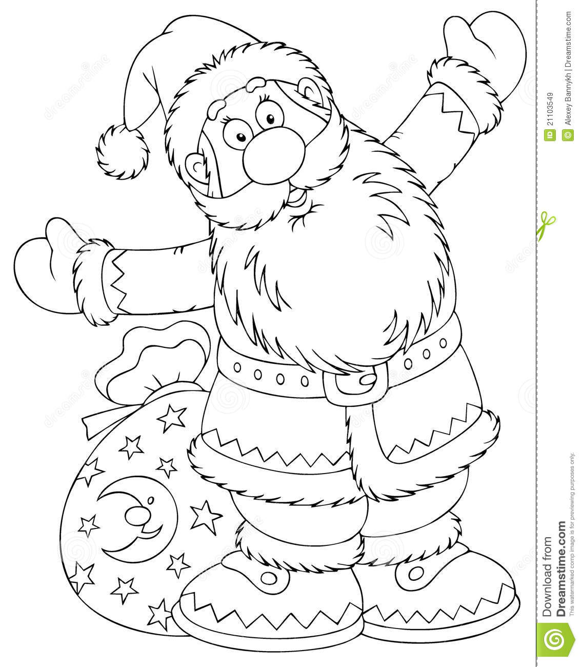 Black and white outline of waving Santa Claus with a sack of Christmas ...