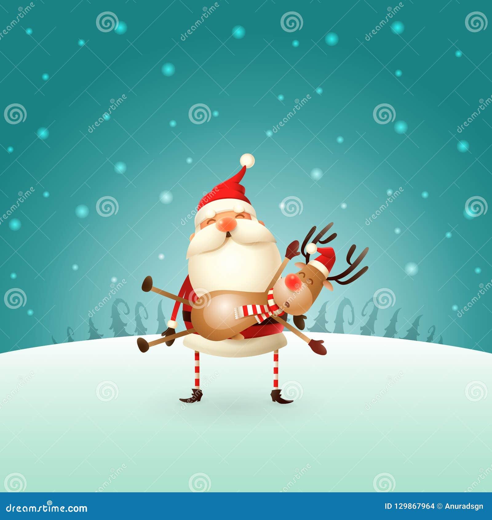 Santa Claus trägt ein Ren auf seinen Händen - Winterlandschaft - Weihnachtskarte