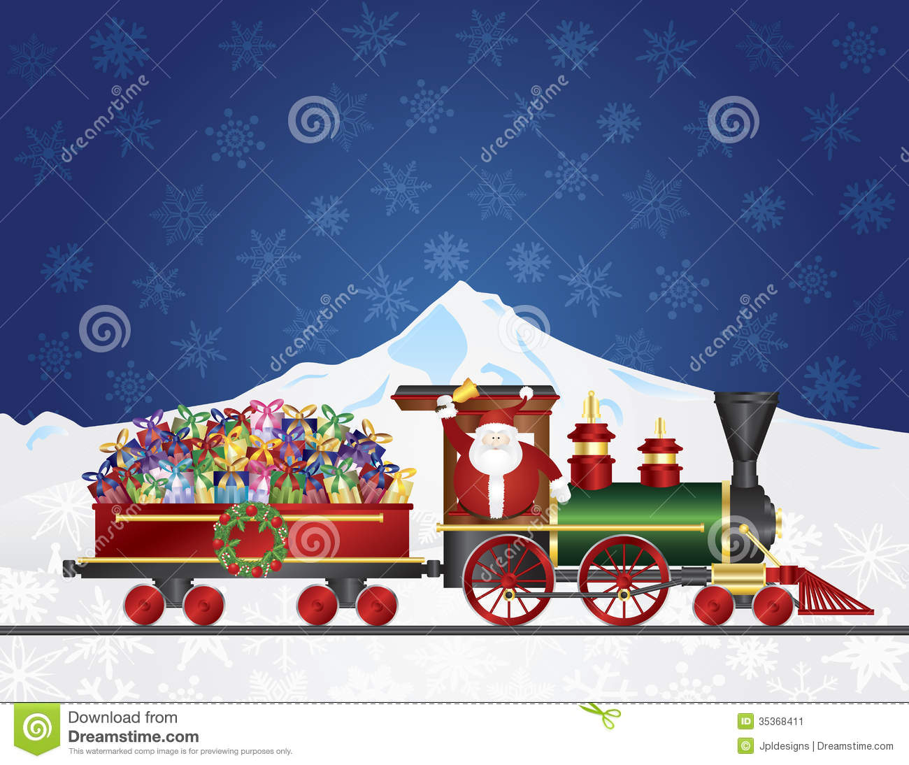 Santa Claus On Train With Presents On Night Snow S Stock